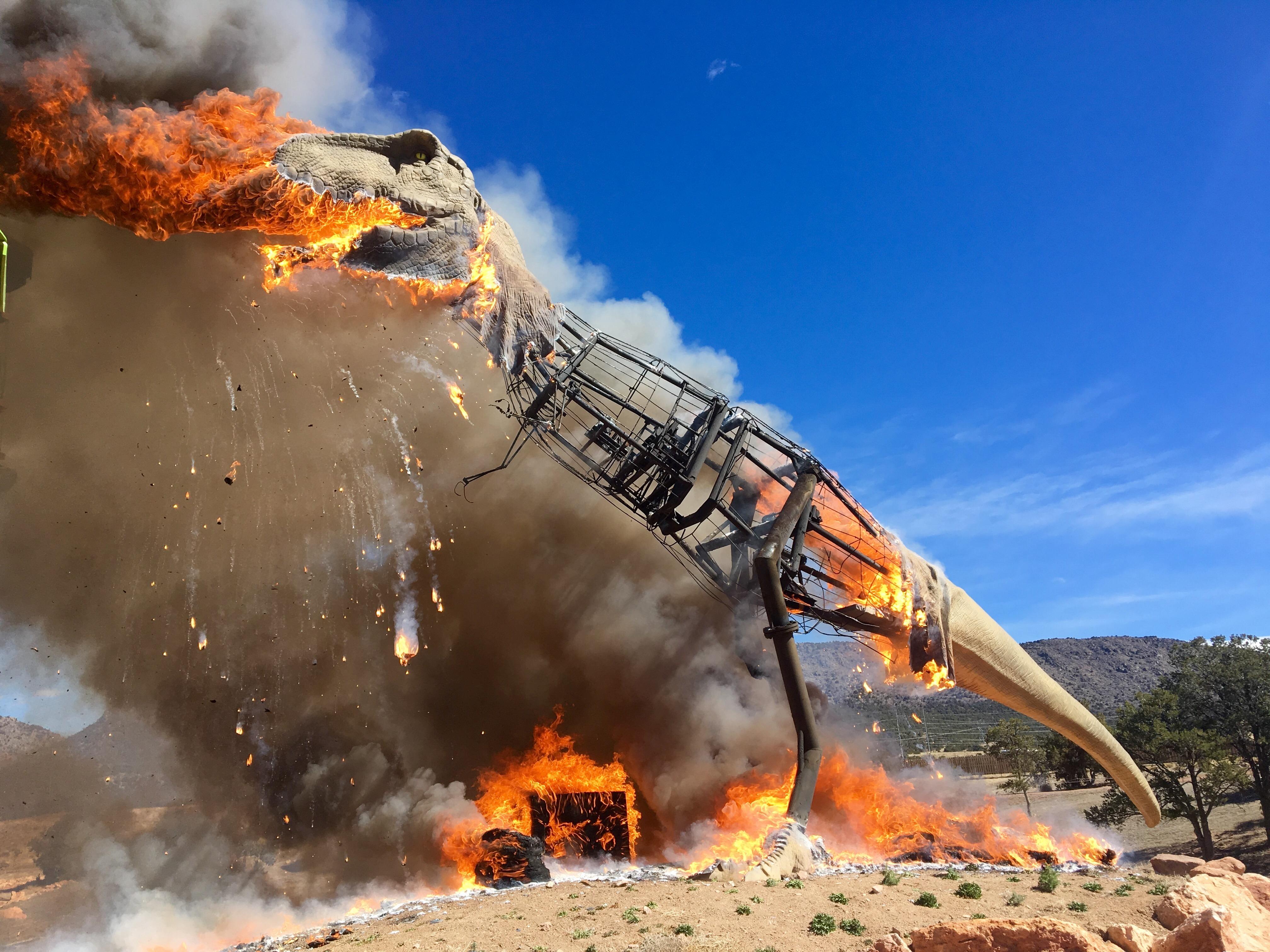 Roaring fire takes down Royal Gorge Dinosaur's T-Rex