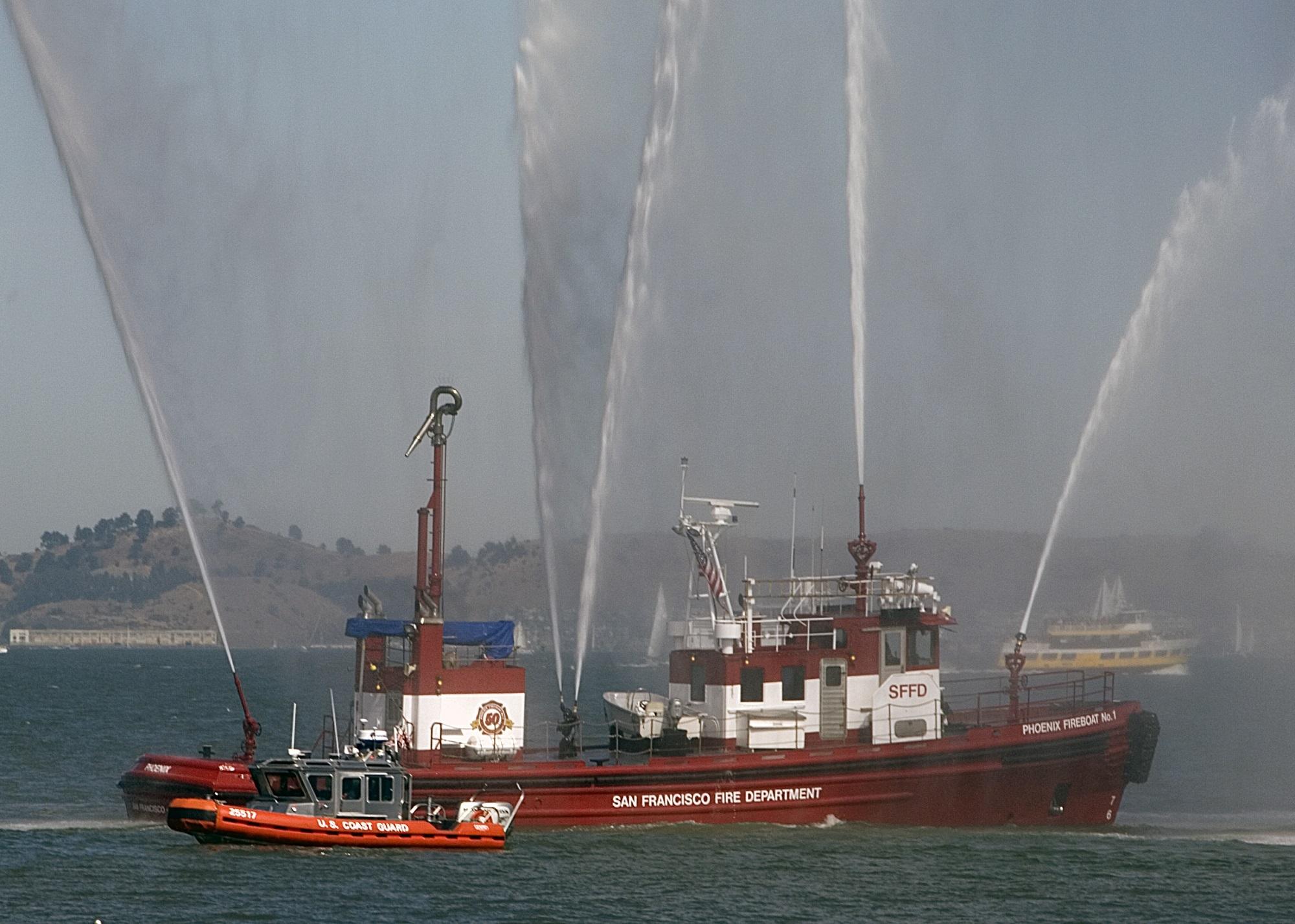 Fire Boat, Boat, Coast, Fire, Guard, HQ Photo