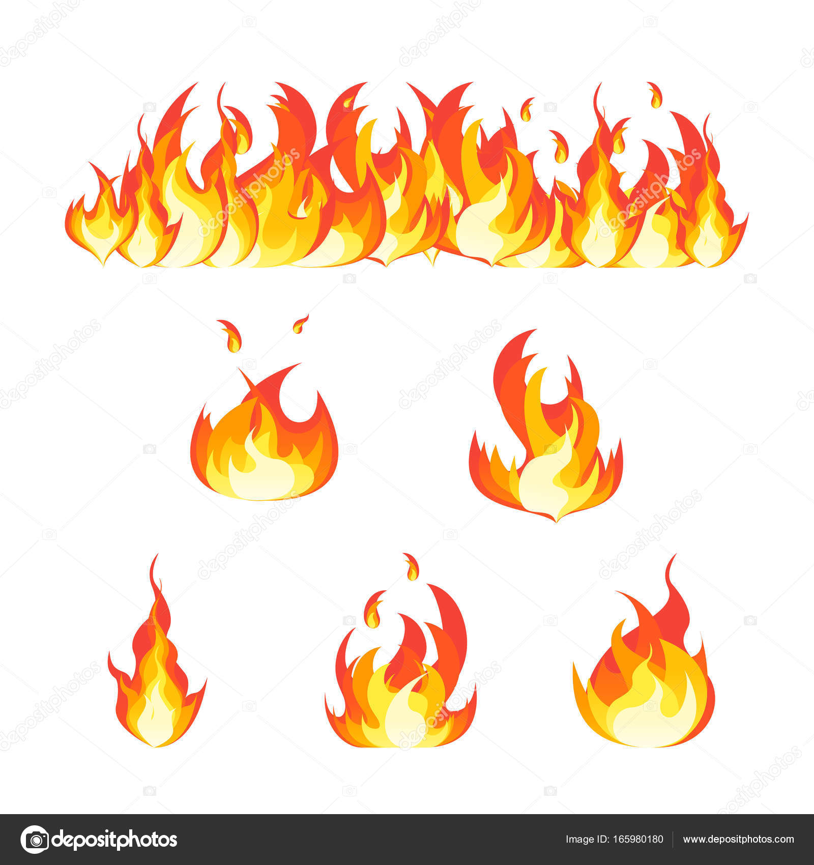 Cartoon Fire Flames Set and Line. Vector — Stock Vector © bigmouse ...