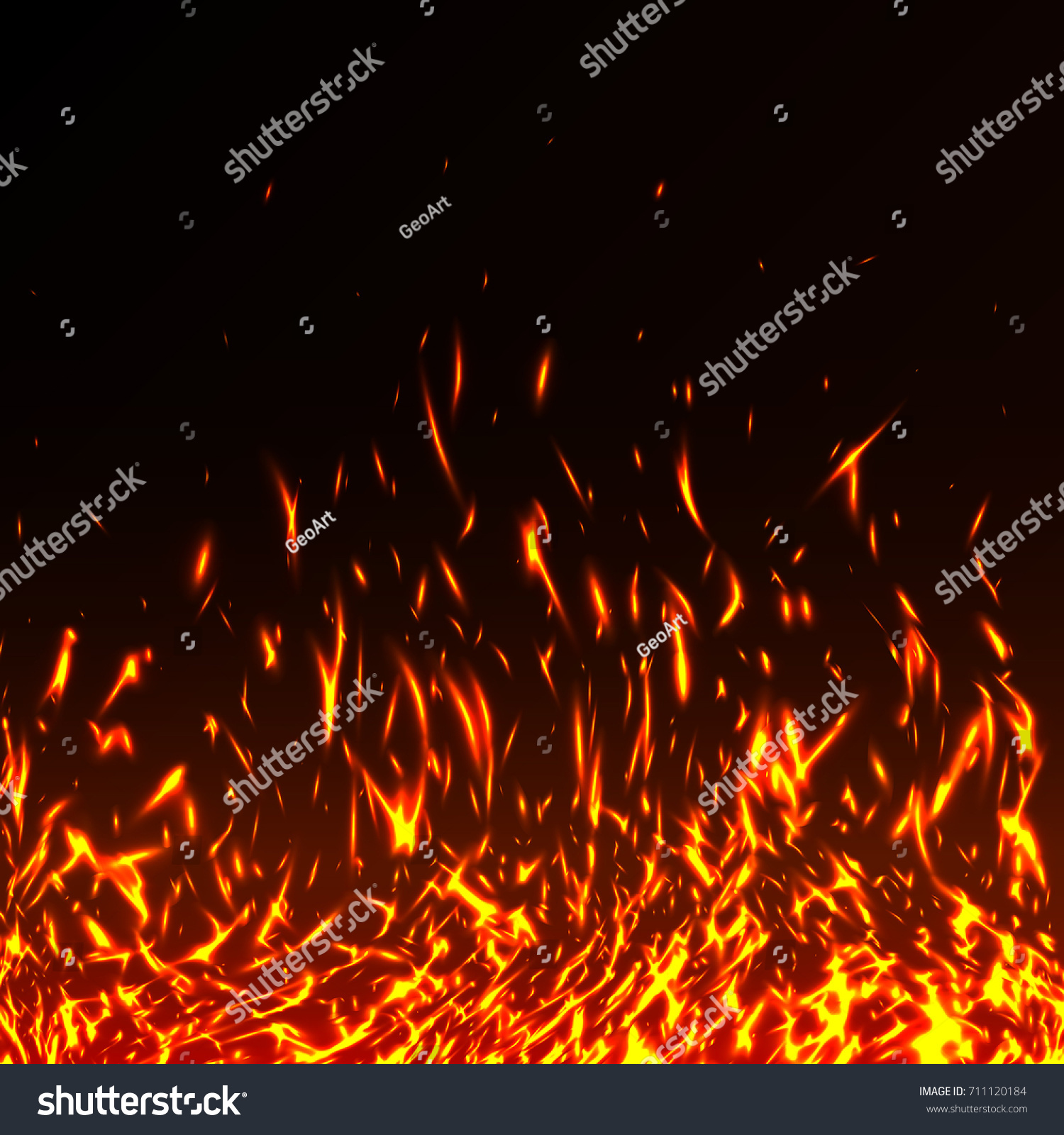 Fire Flames Sparks Isolated On Black Stock Photo (Photo, Vector ...