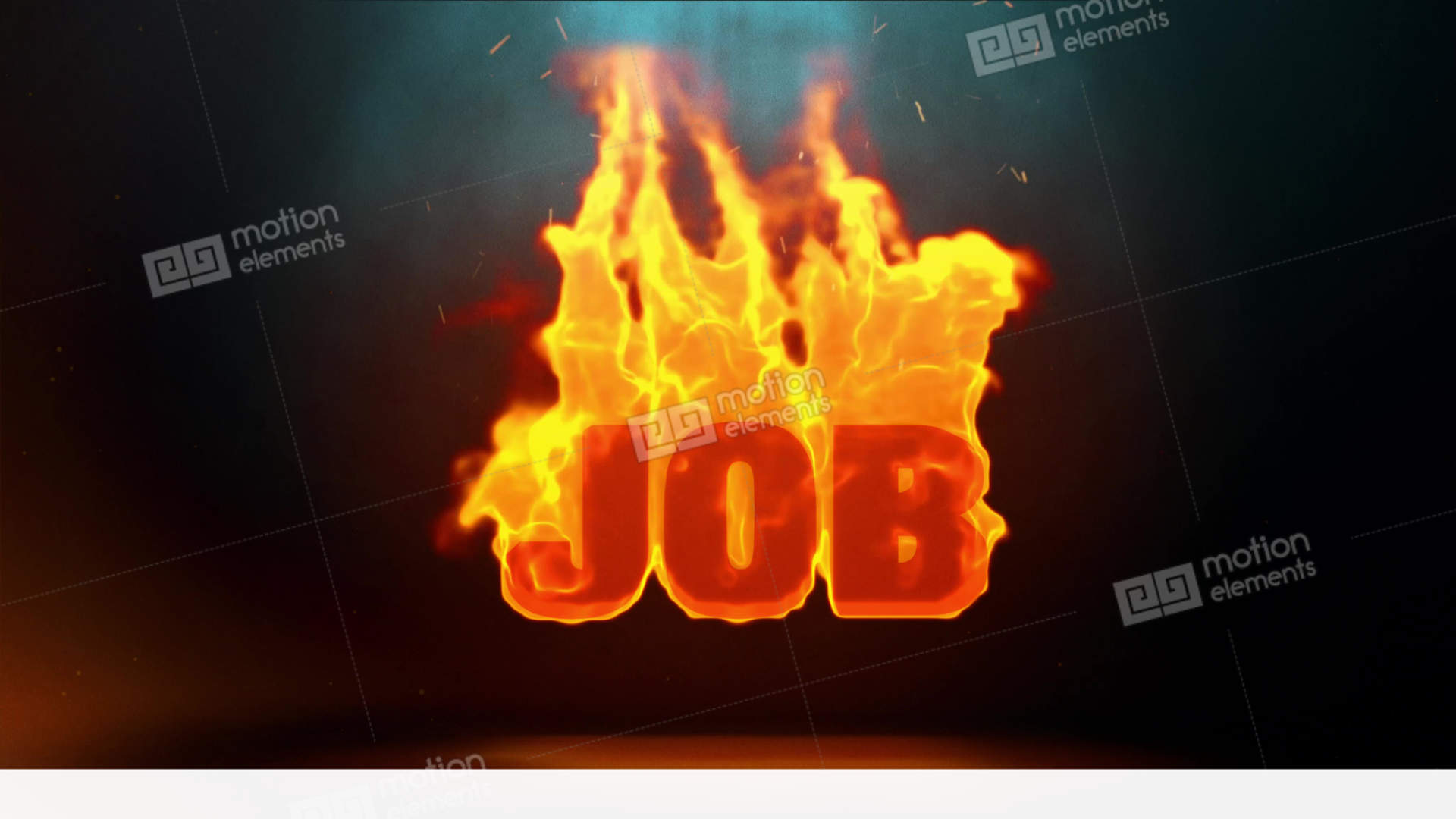 JOB Word Hot Burning On Realistic Fire Flames Sparks Continuous Loop ...