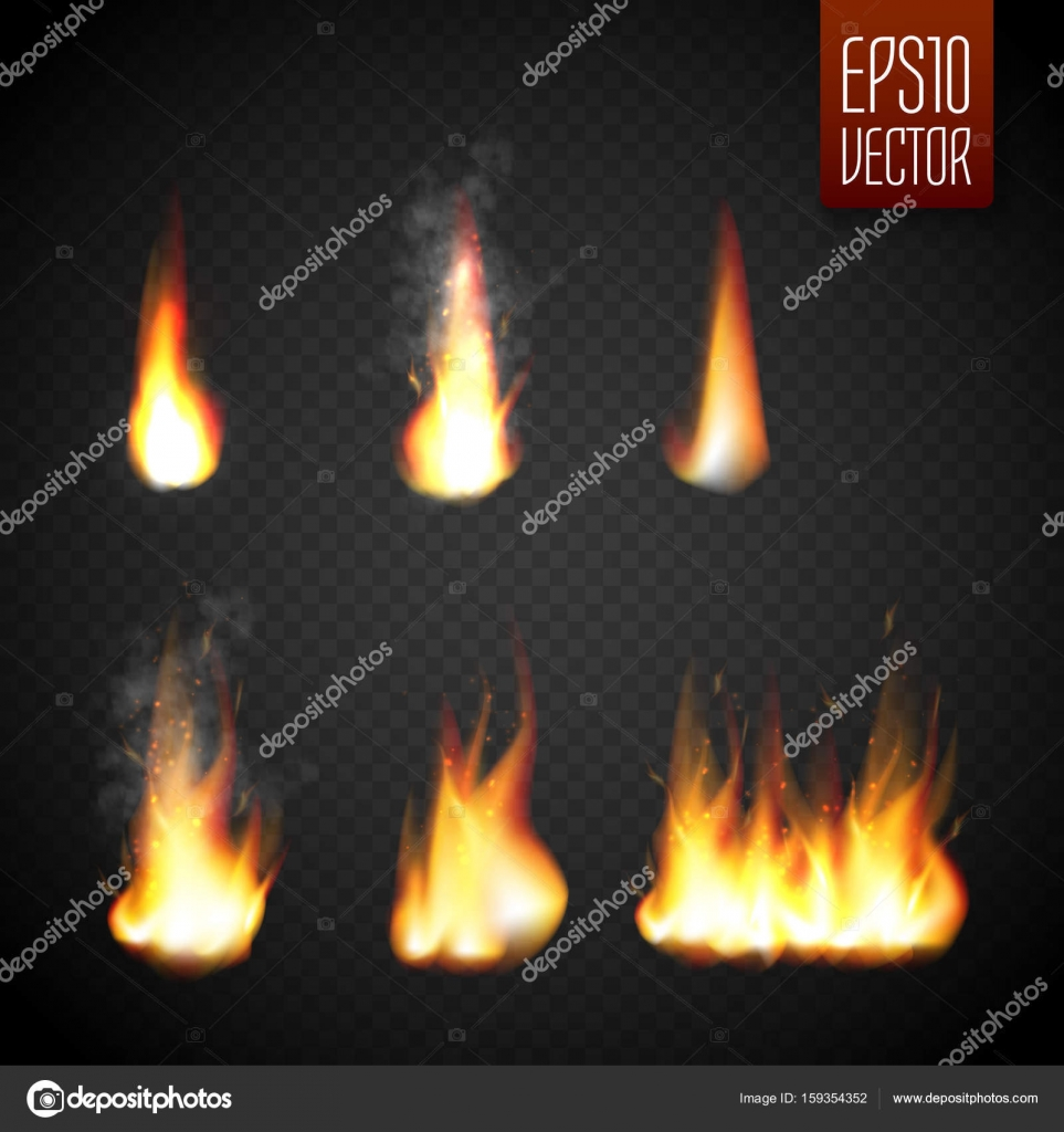 Fire flames isolated on transparent background. Vector realistic ...