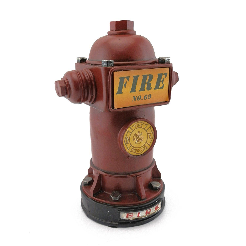 Amazon.com: Baidecor Resin Red Fire Hydrant Money Box Piggy Bank ...