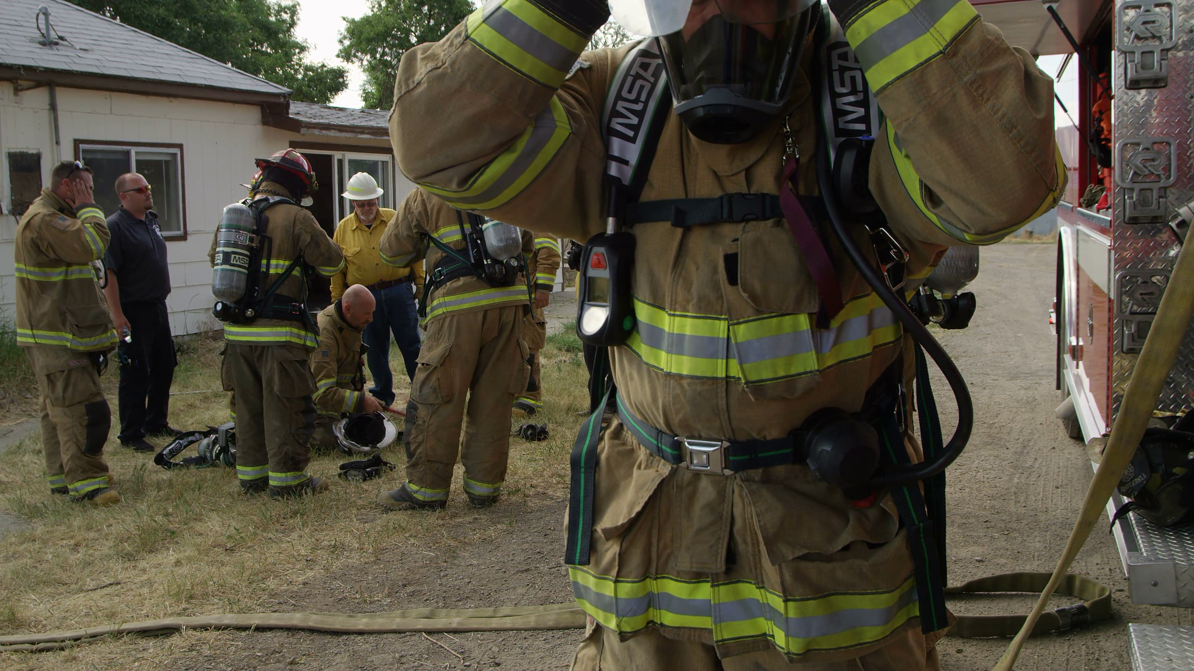 Firemen getting ready for training Stock Video Footage - Videoblocks