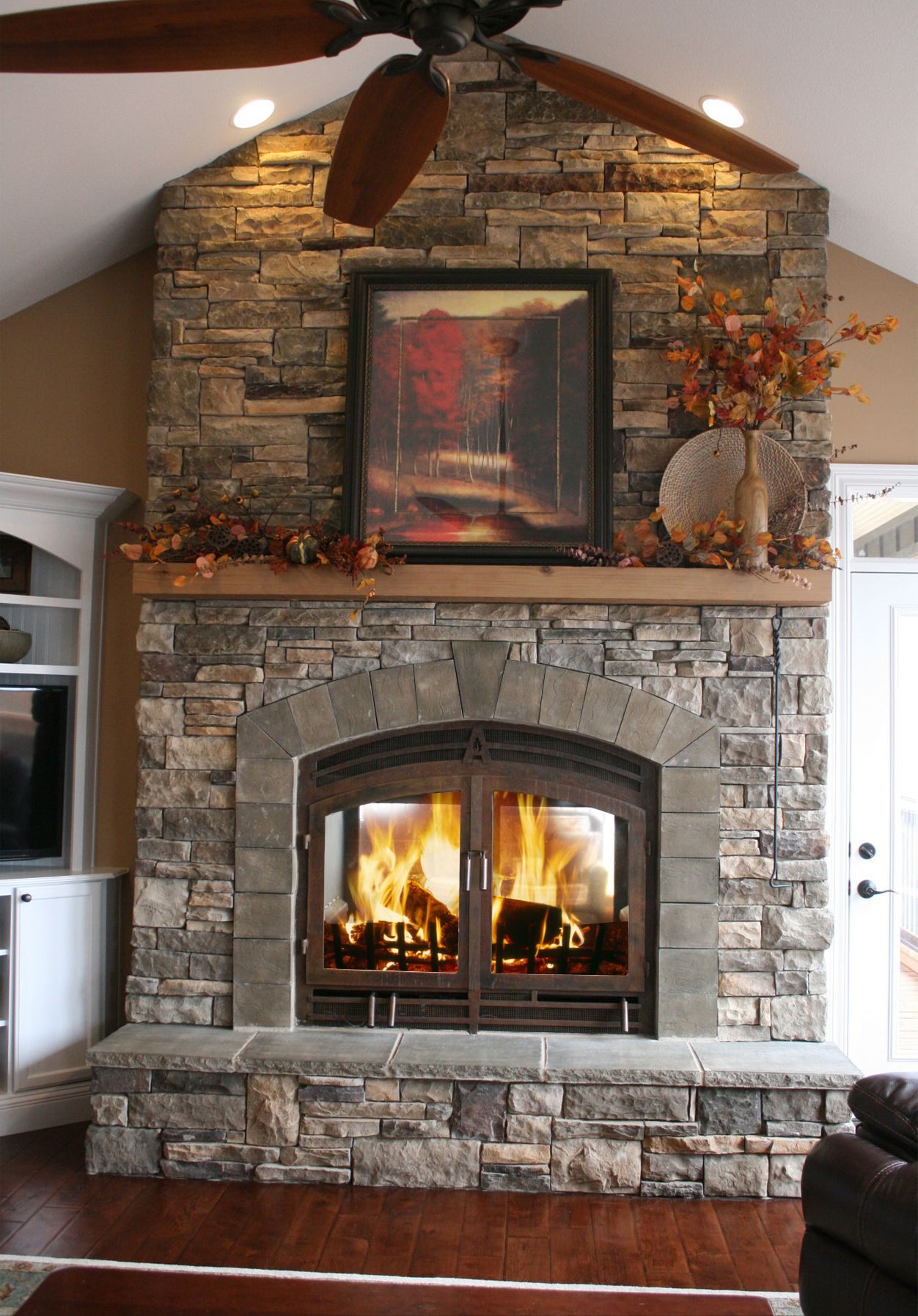 Indoor Outdoor Wood Fireplace | Wood mantels, Stone fireplaces and ...