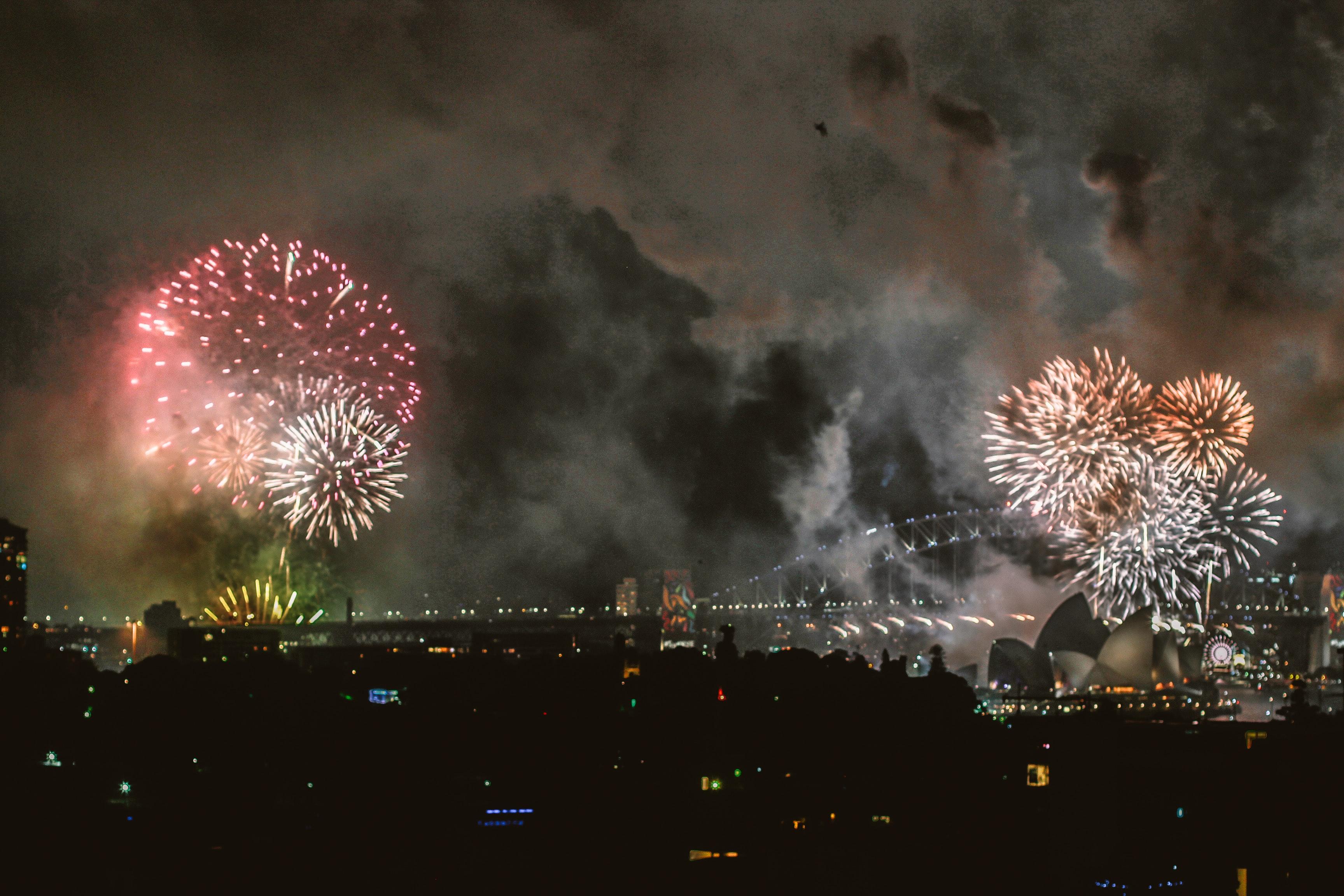 Fireworks Display at Sydney Opera House, Independence Day, Sydney, Sparks, Smoke, HQ Photo