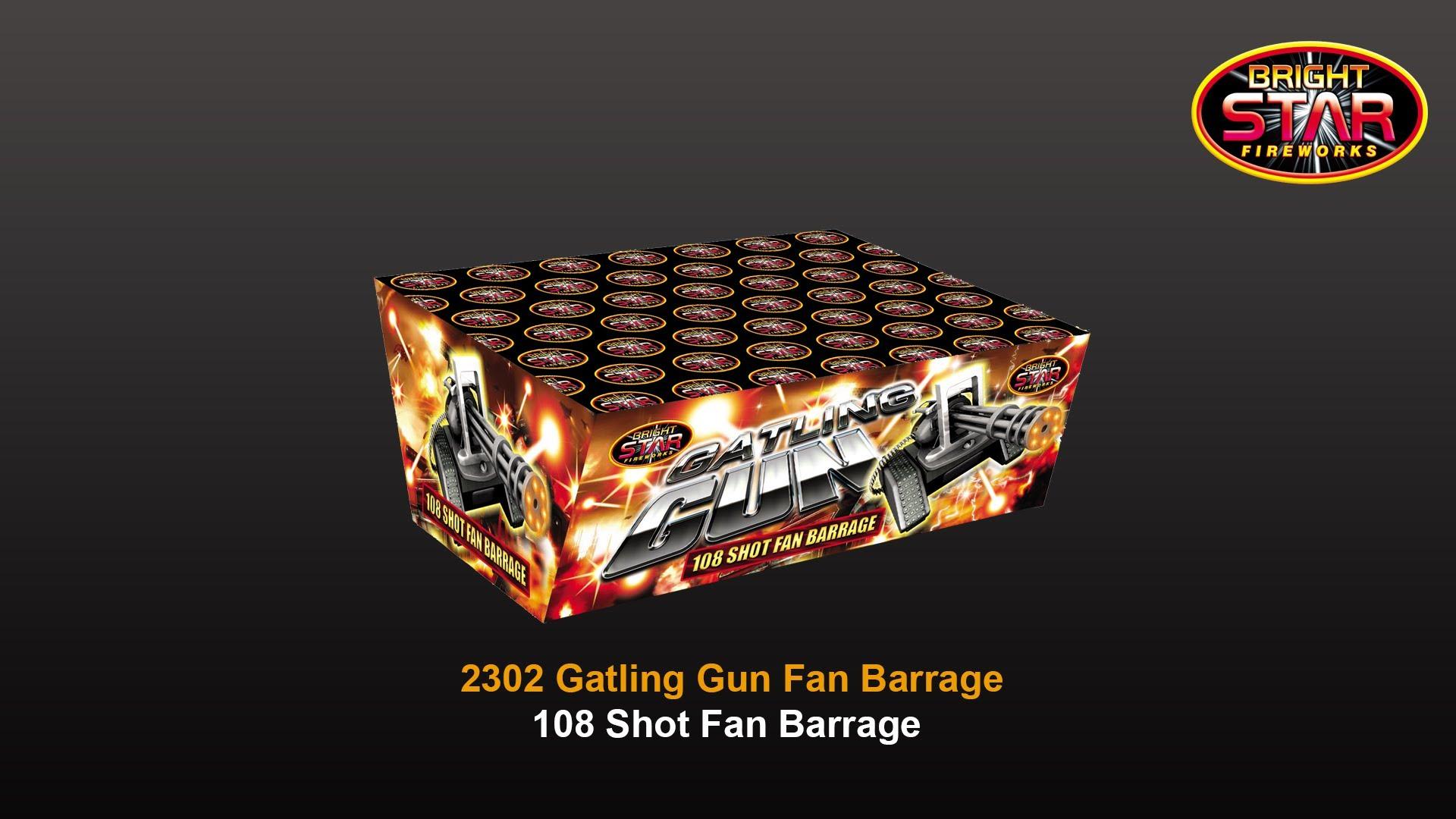 Bright Star Fireworks - 2302 Gatling Gun 108 Shot Fan Barrage - YouTube