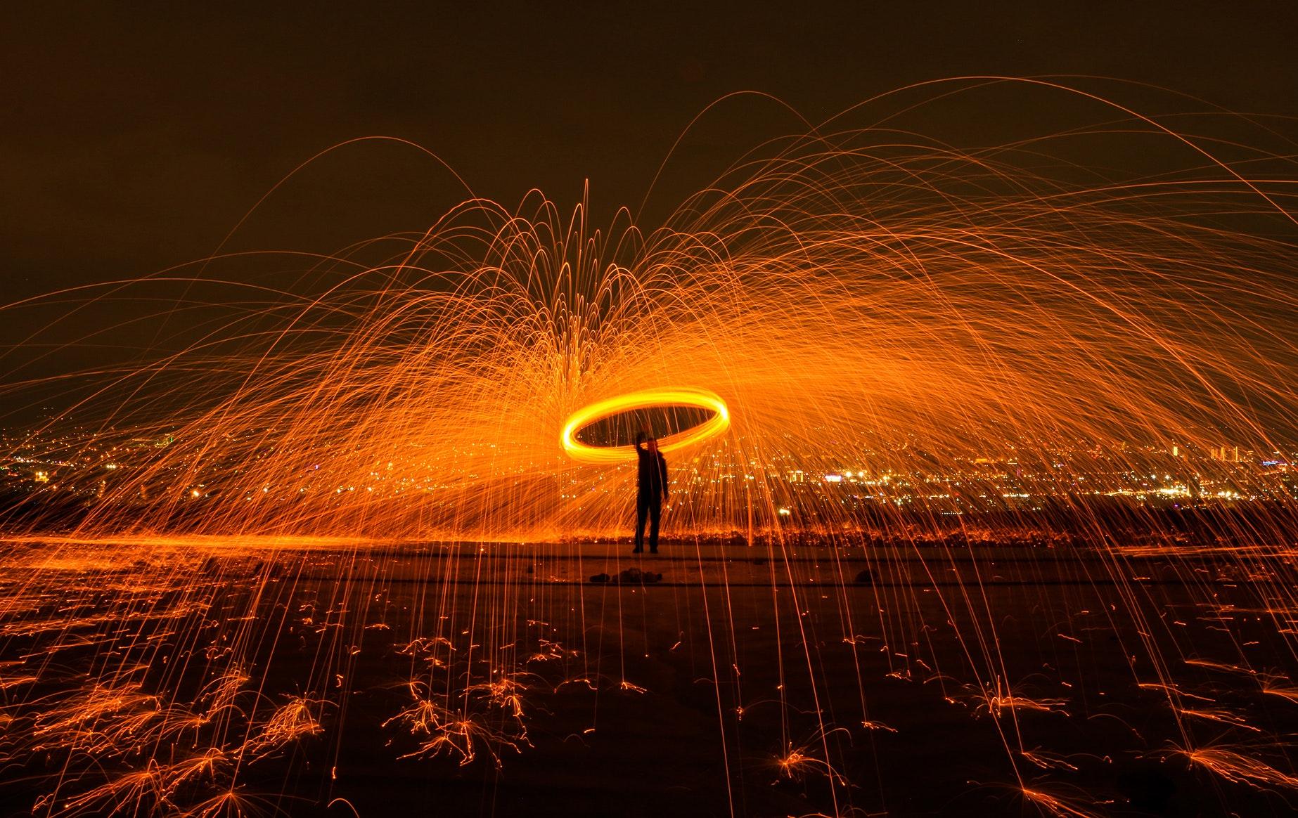 Fireworks Photography, Sparkle, Steelwool, Sparkler, Man, HQ Photo