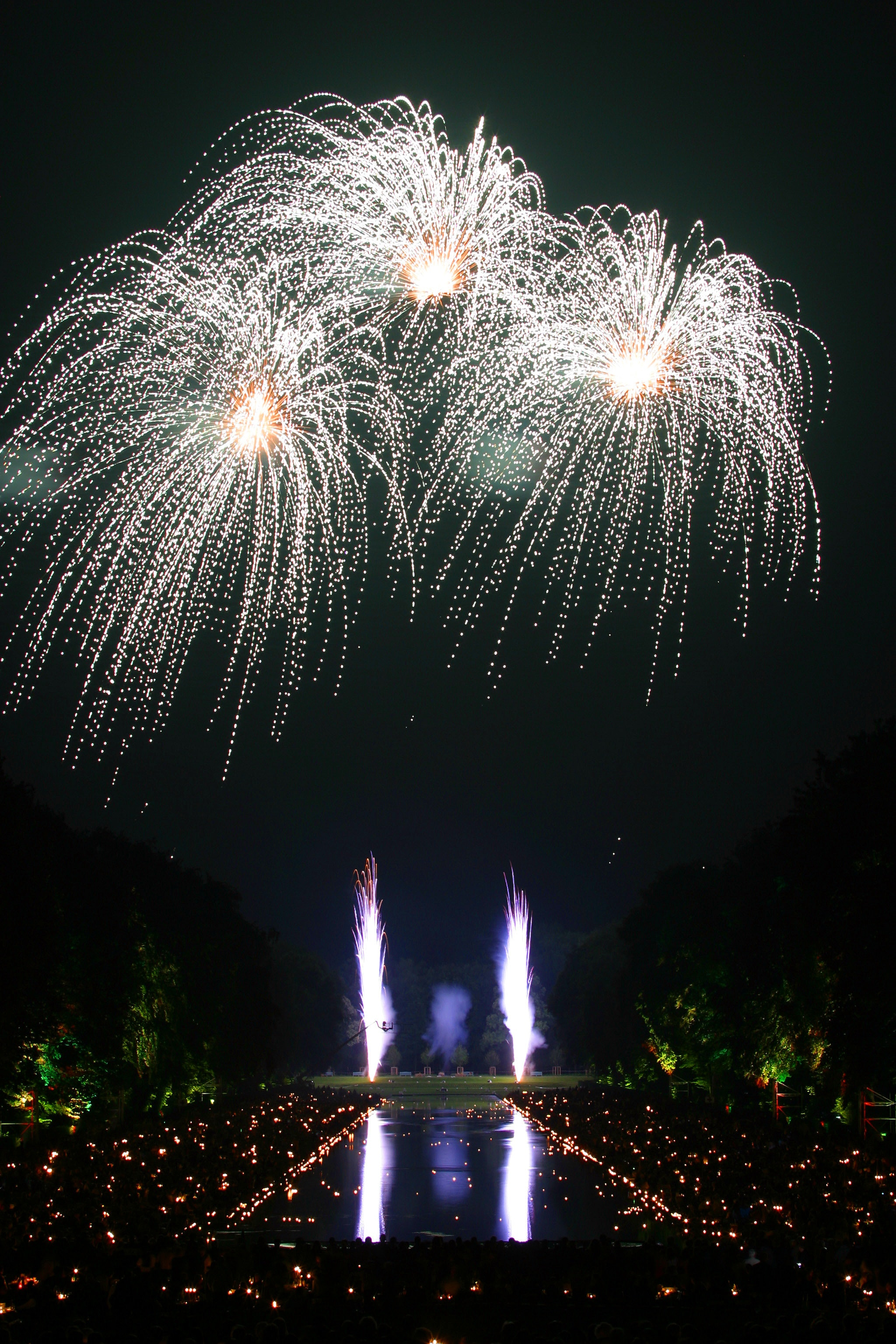 Fireworks Time Laps Photography, 2018, Magic, Trees, Swimming pool, HQ Photo