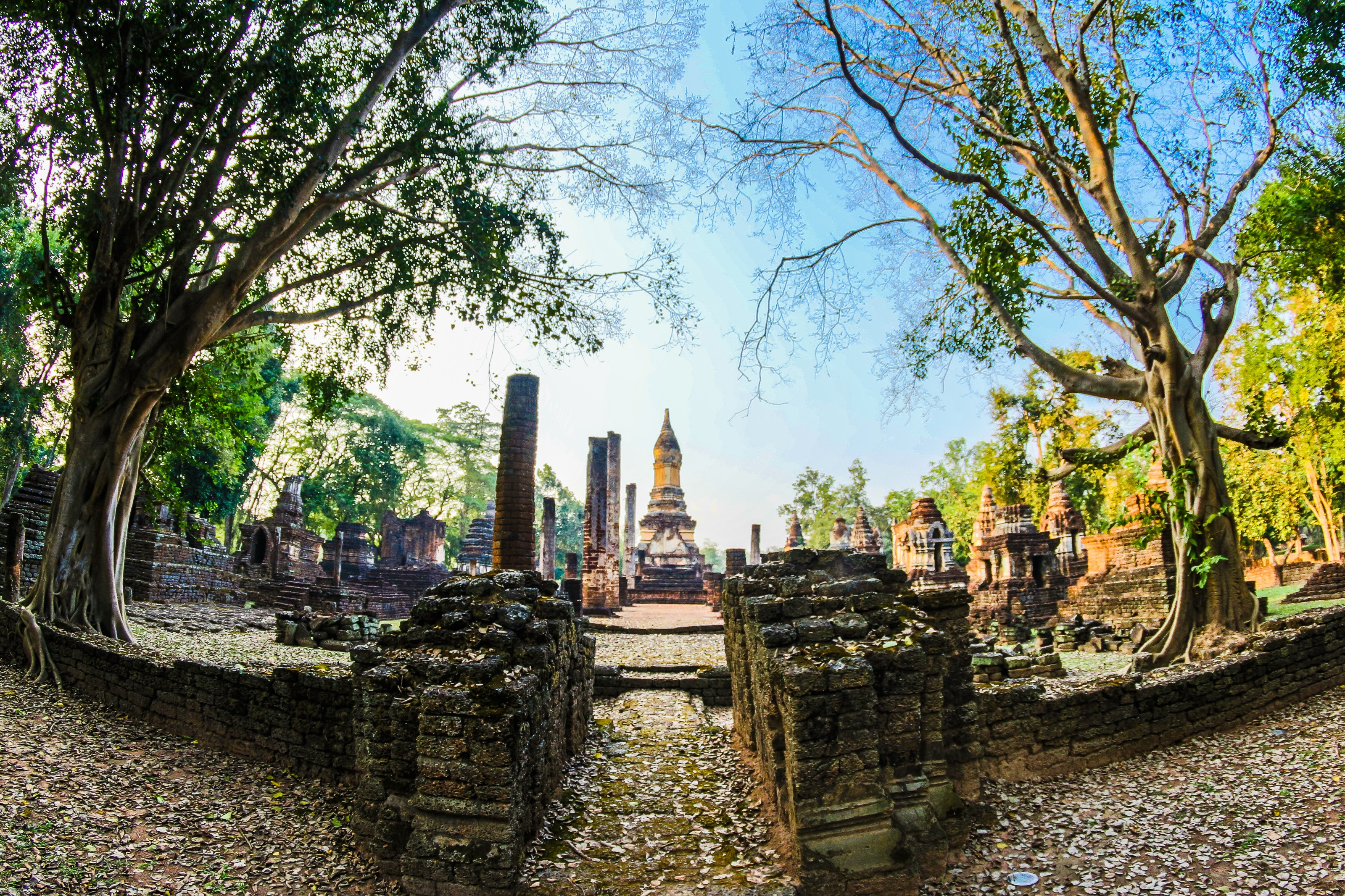 Fish Eye Lens Pathway Along the Temple, Ancient, Thai, Sculpture, Spiritual, HQ Photo