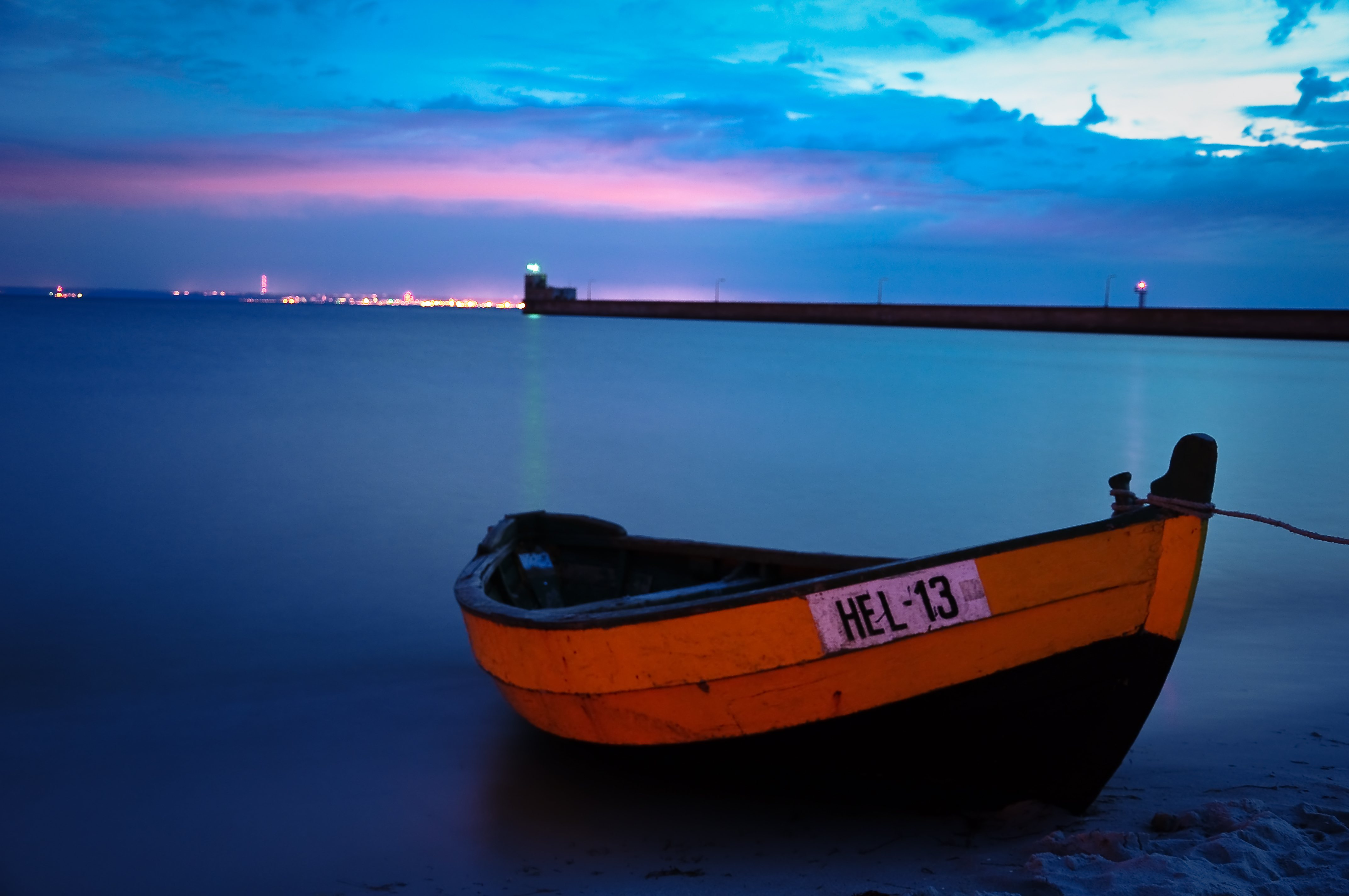 Fishing Boat in Hel by night, Poland, Baltic, Outdoor, Vehicle, Travel, HQ Photo