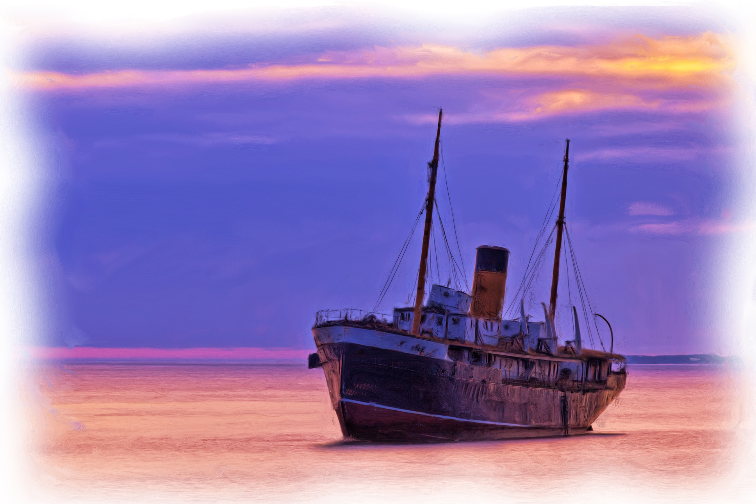 Fishing boat oil painting photo