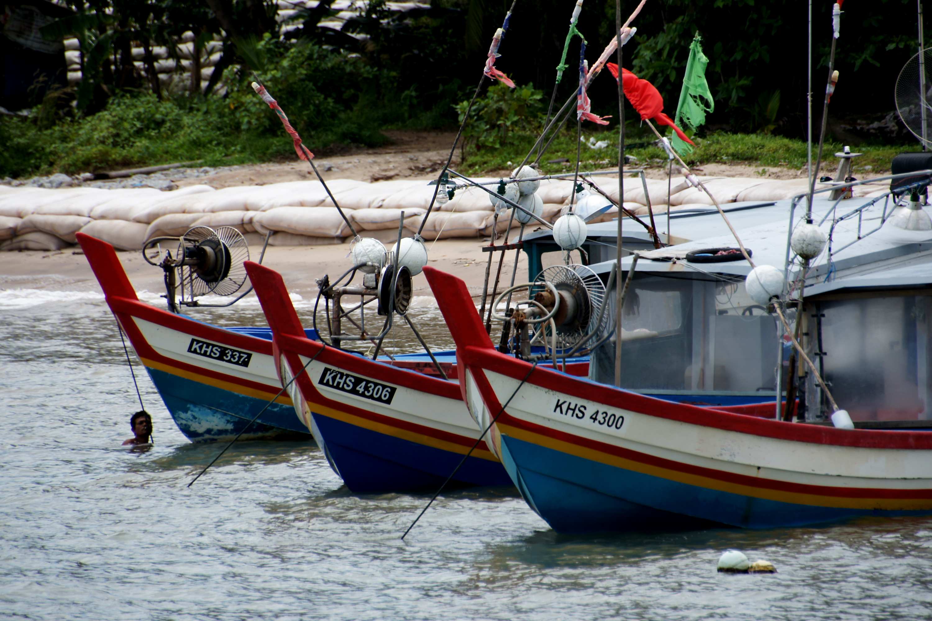 Fishing boats of malaysia.) photo