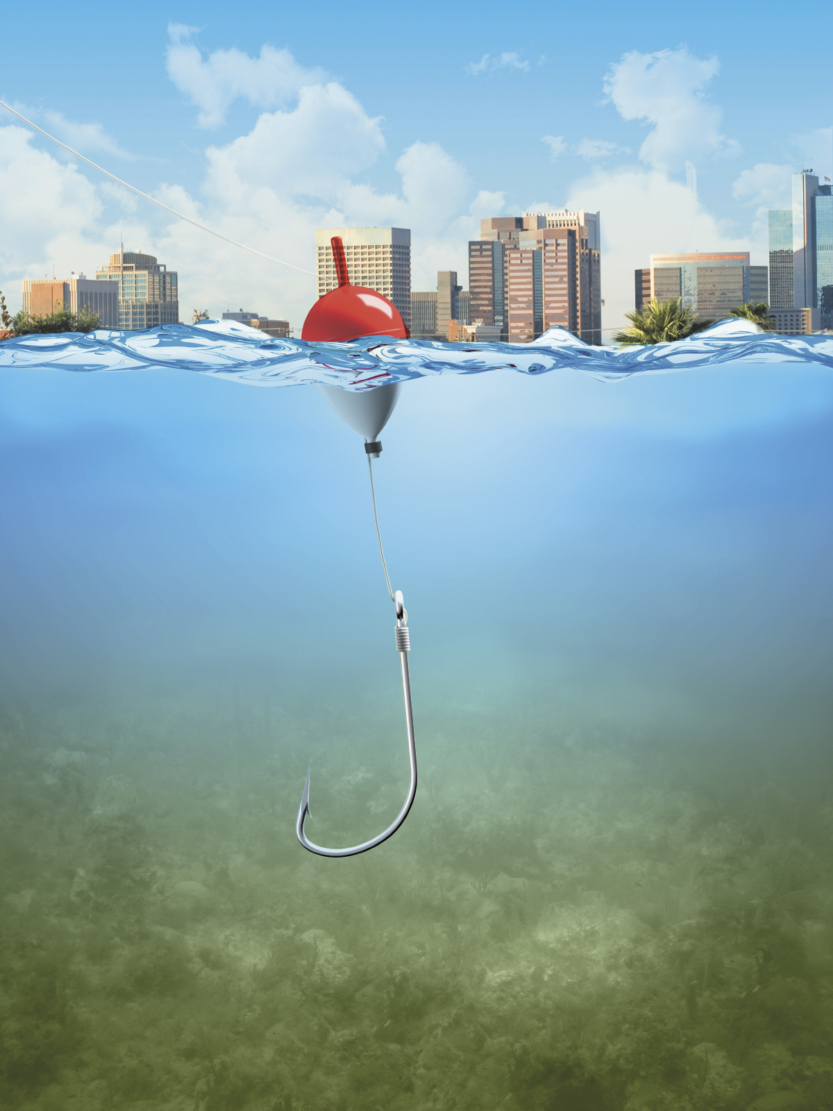 Fishing line and hook under water photo
