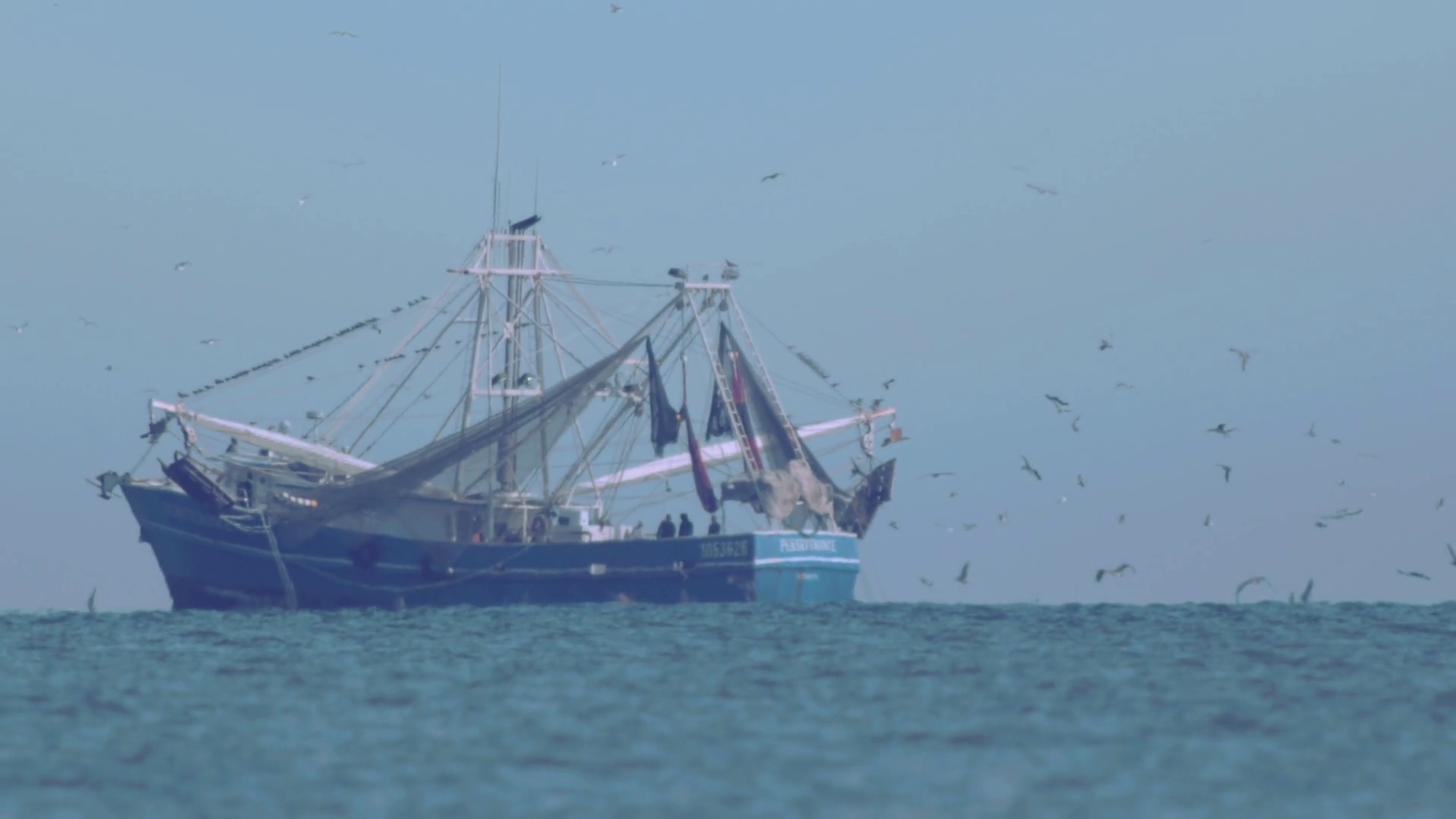 Slow motion shot of professional fishing boat or fishing trawler and ...