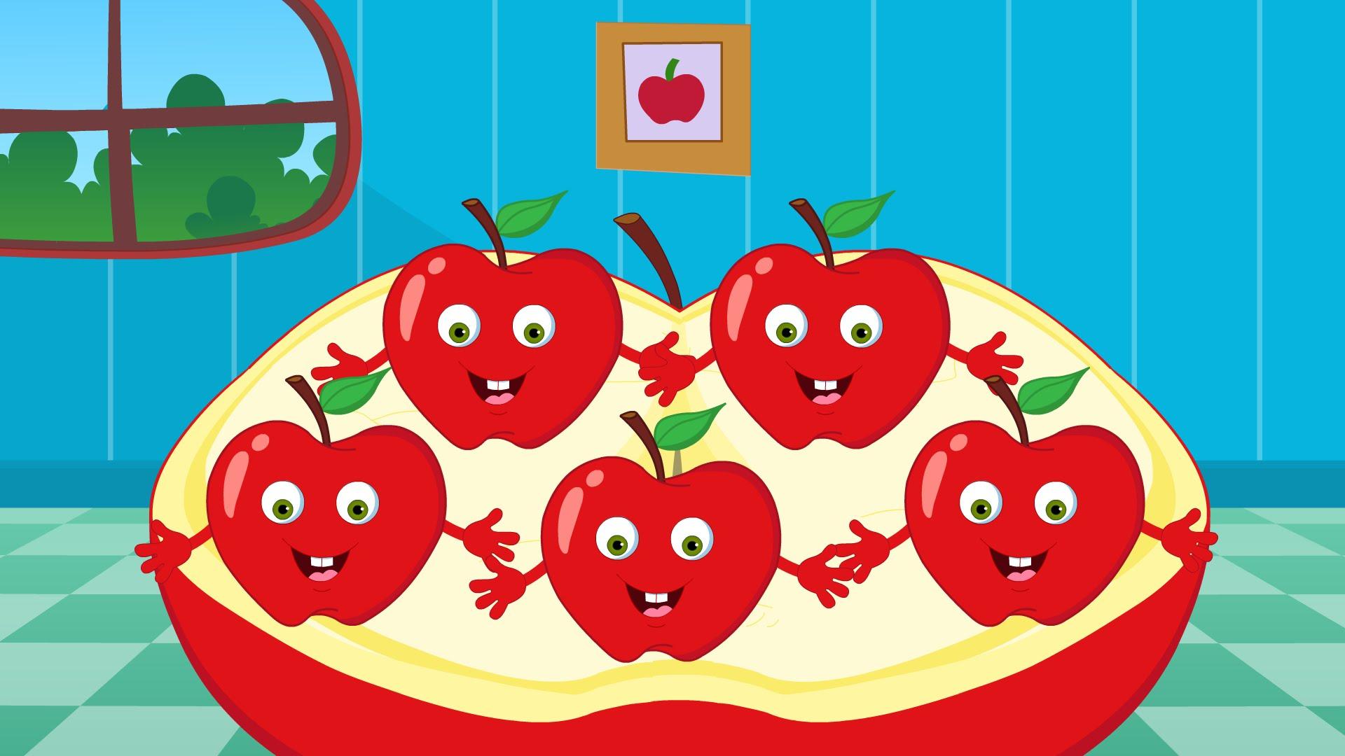 Five Little Apples | Nursery Rhymes For Toddlers | Cartoon Videos ...