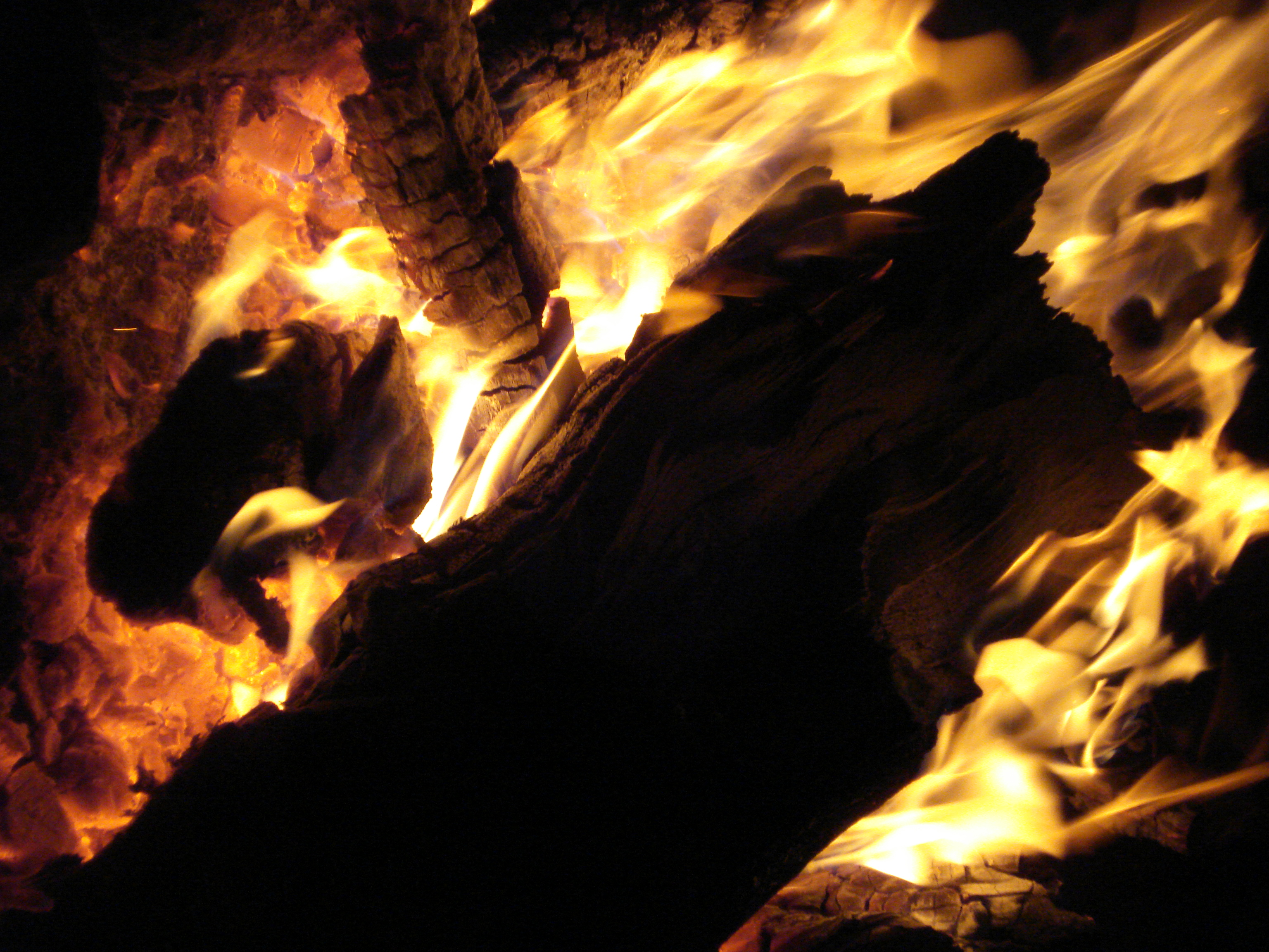 Flames from burning wood photo