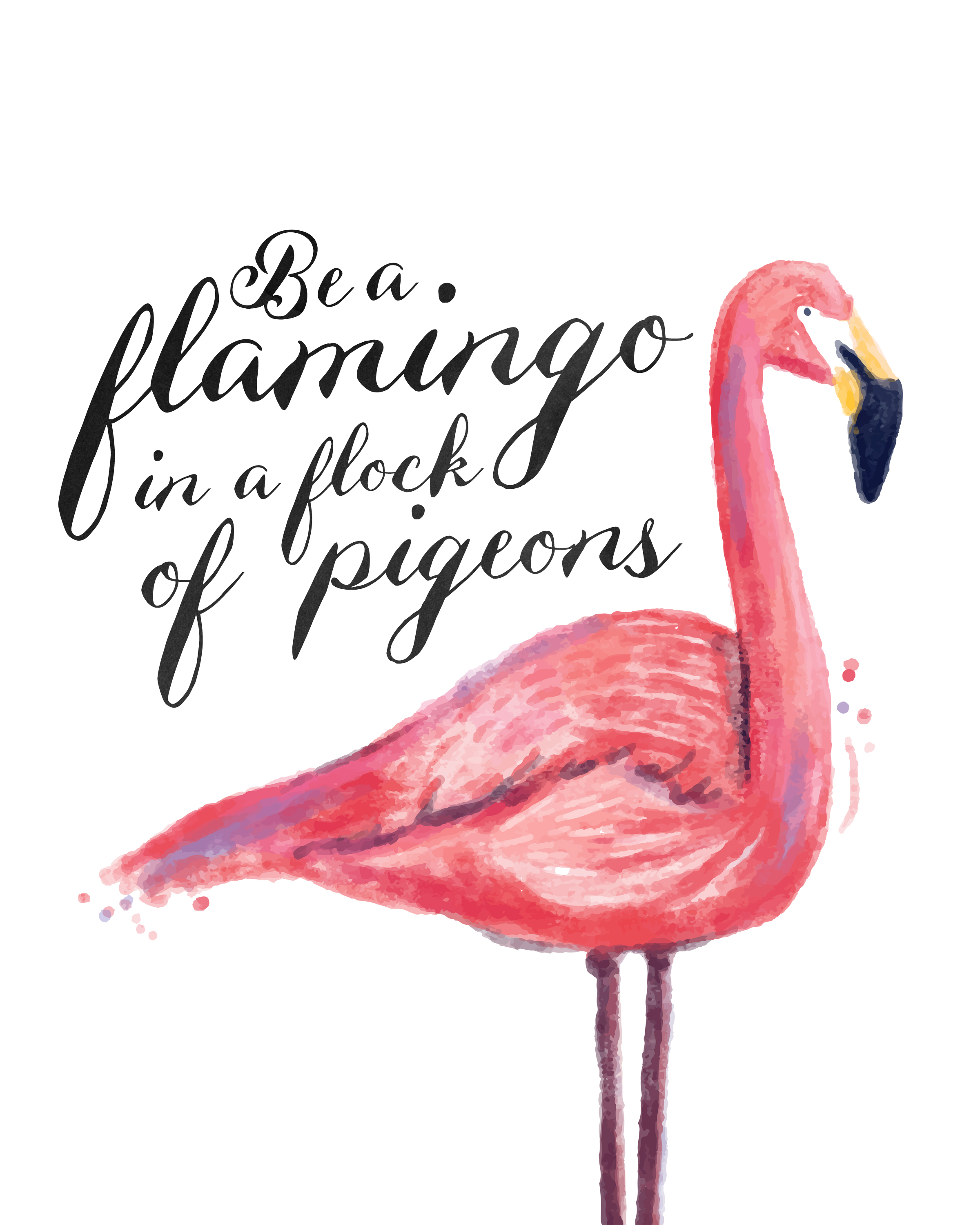 Free Printable Flamingo Print - The Cottage Market