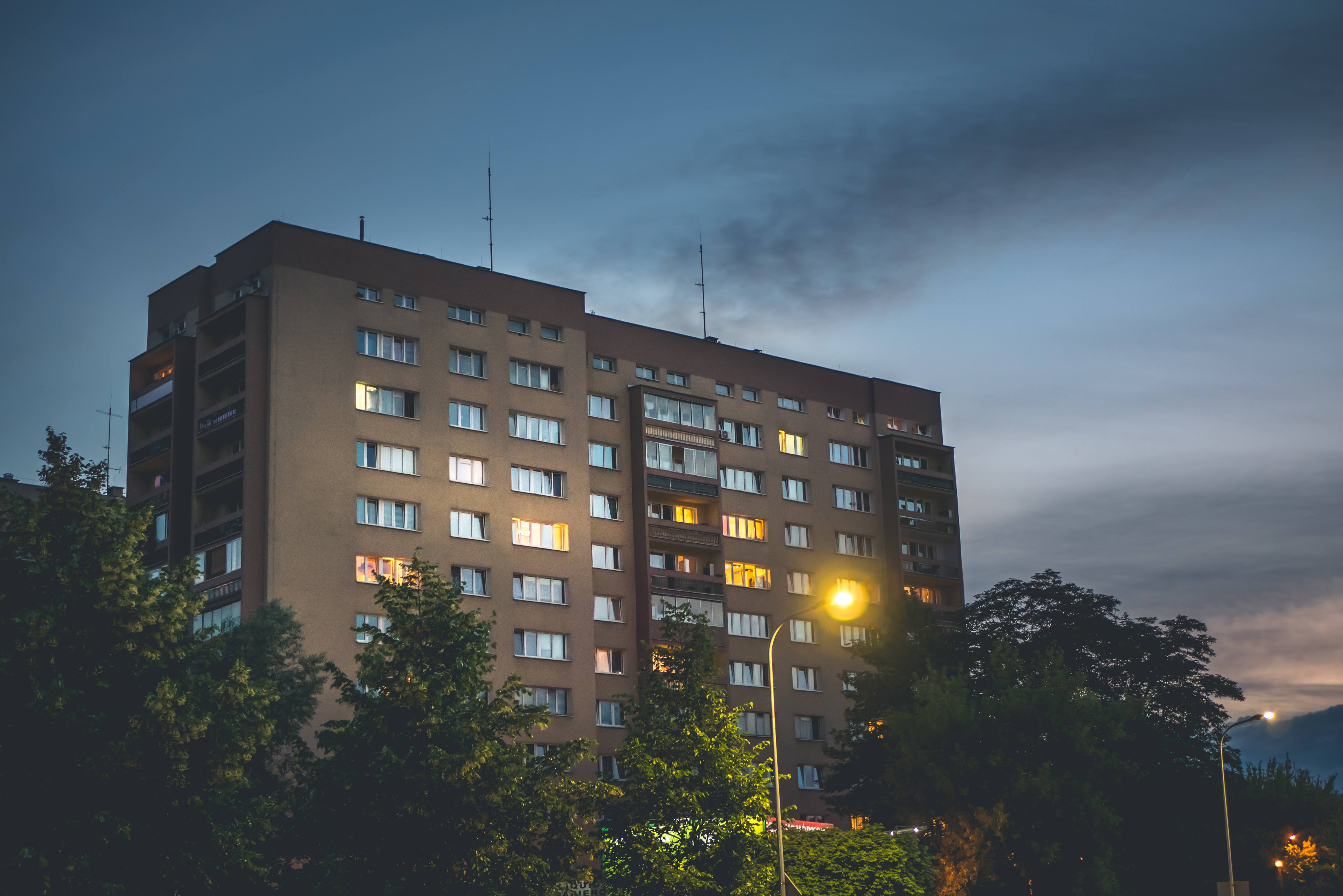 Flat estate at sunset, Apartment, District, Night, Light, HQ Photo
