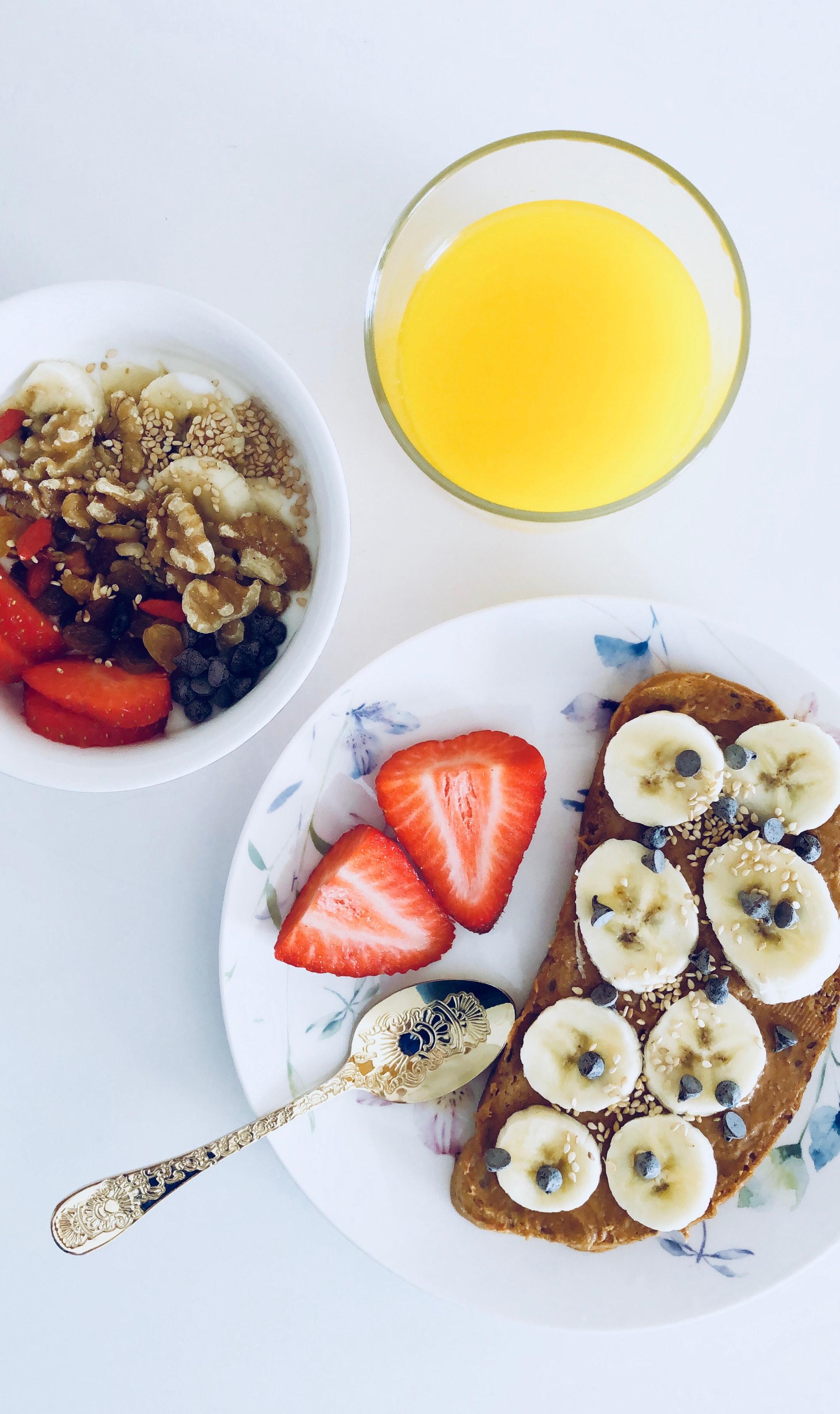 Flatlay Photography of Bread and Fruits, Banana, Healthy, Strawberries, Spoon, HQ Photo