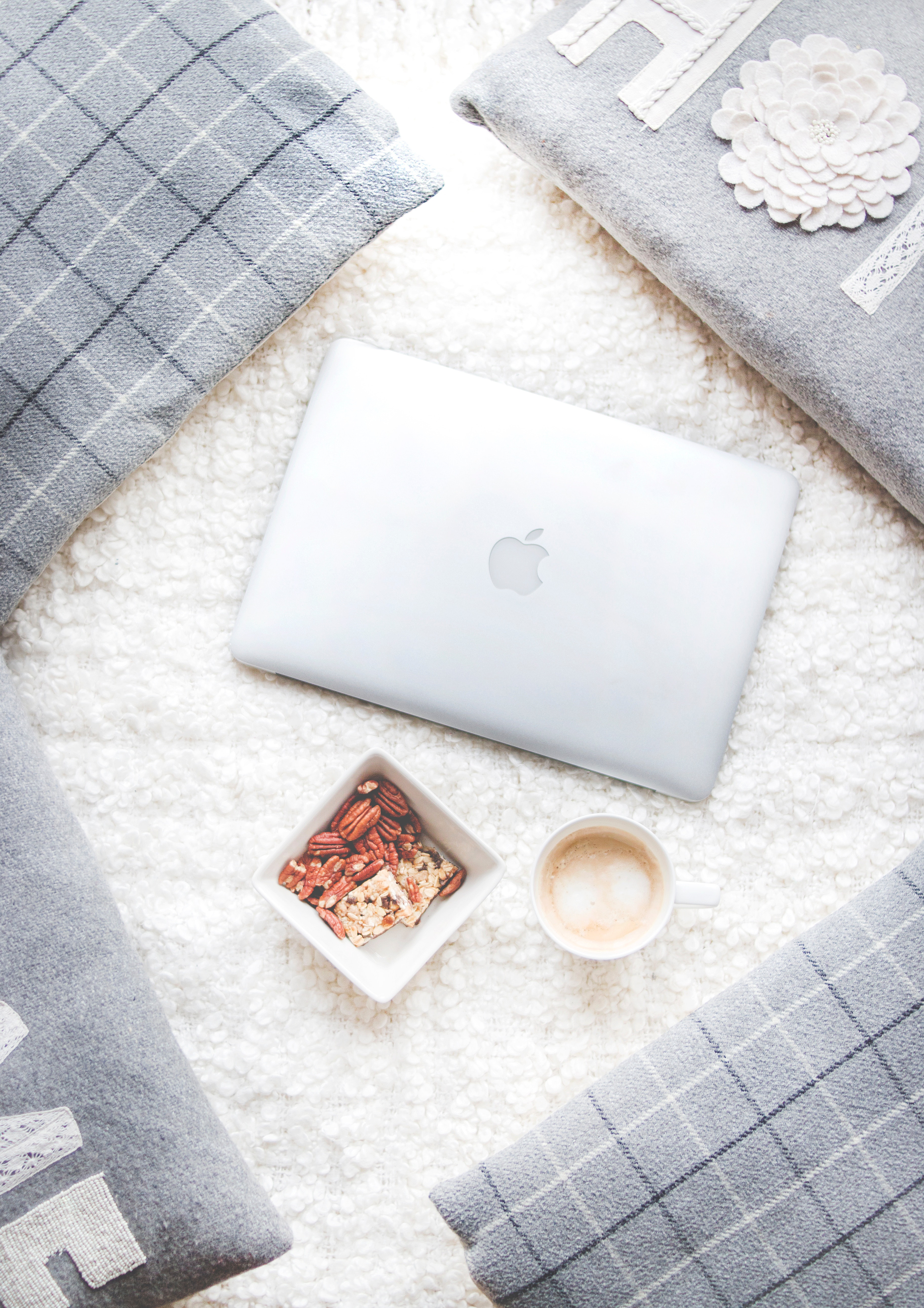 Flatlay Photography of Macbook and Snacks, Cappuccino, Coffee, Design, Empty, HQ Photo