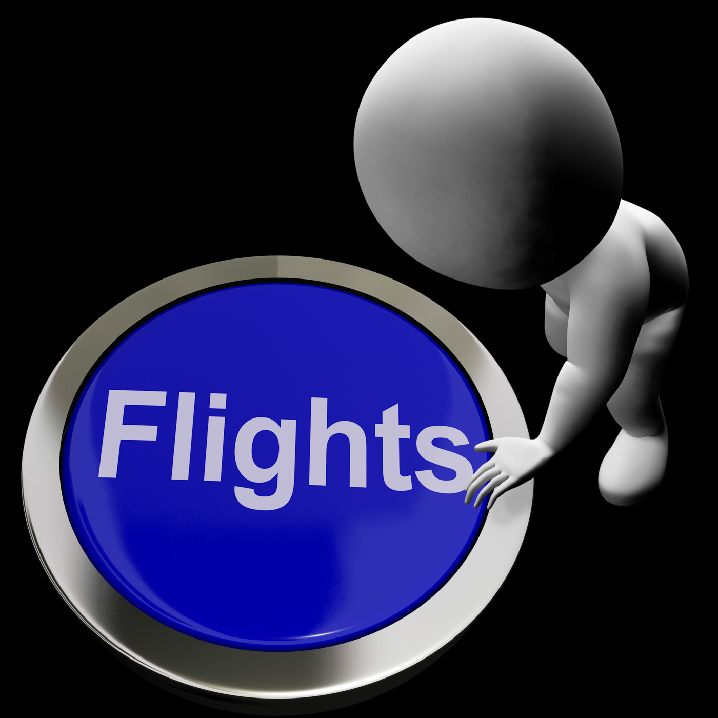 Flights button for overseas vacation or holidays photo