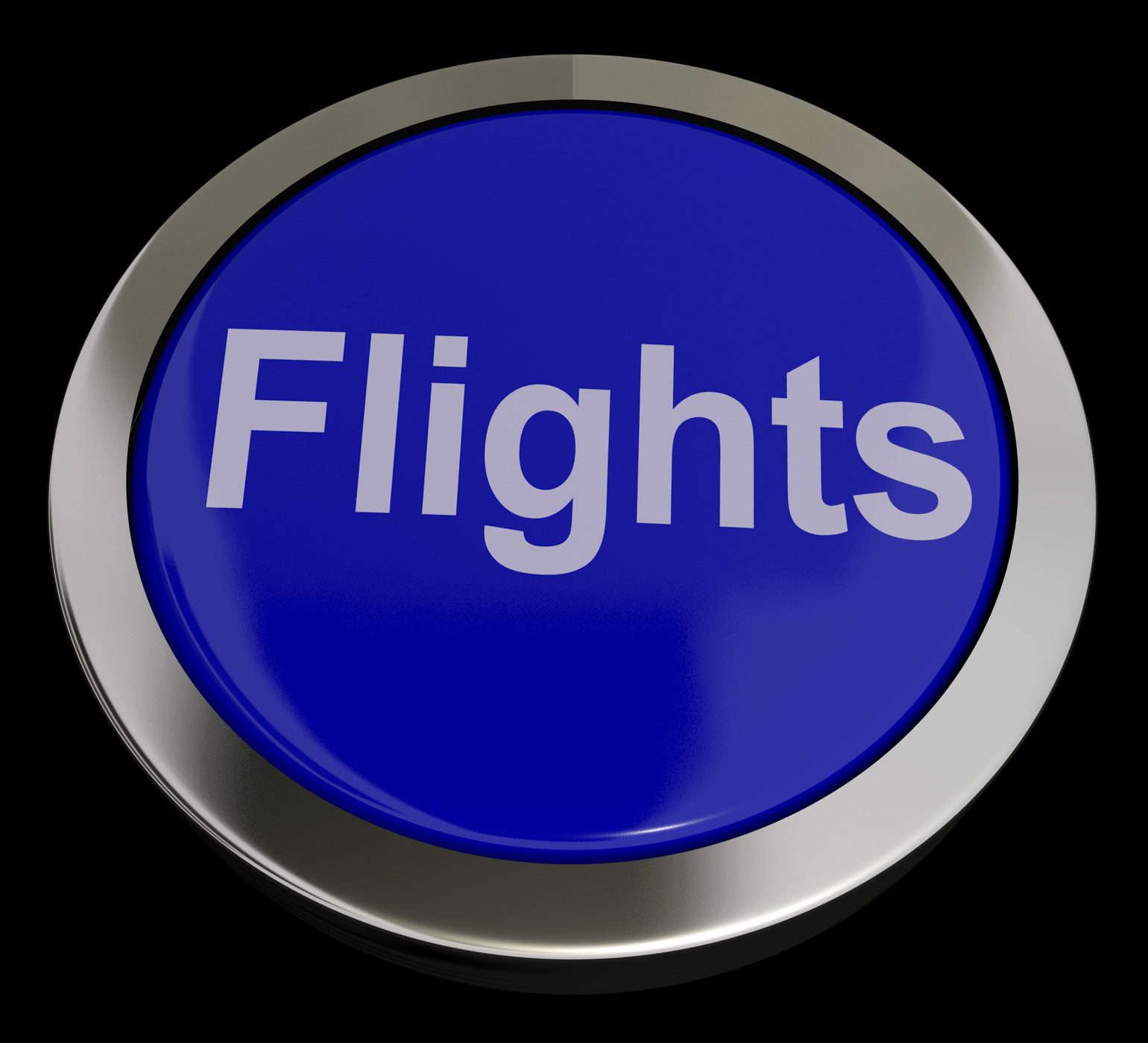 Flights button in blue for overseas vacation or holiday photo