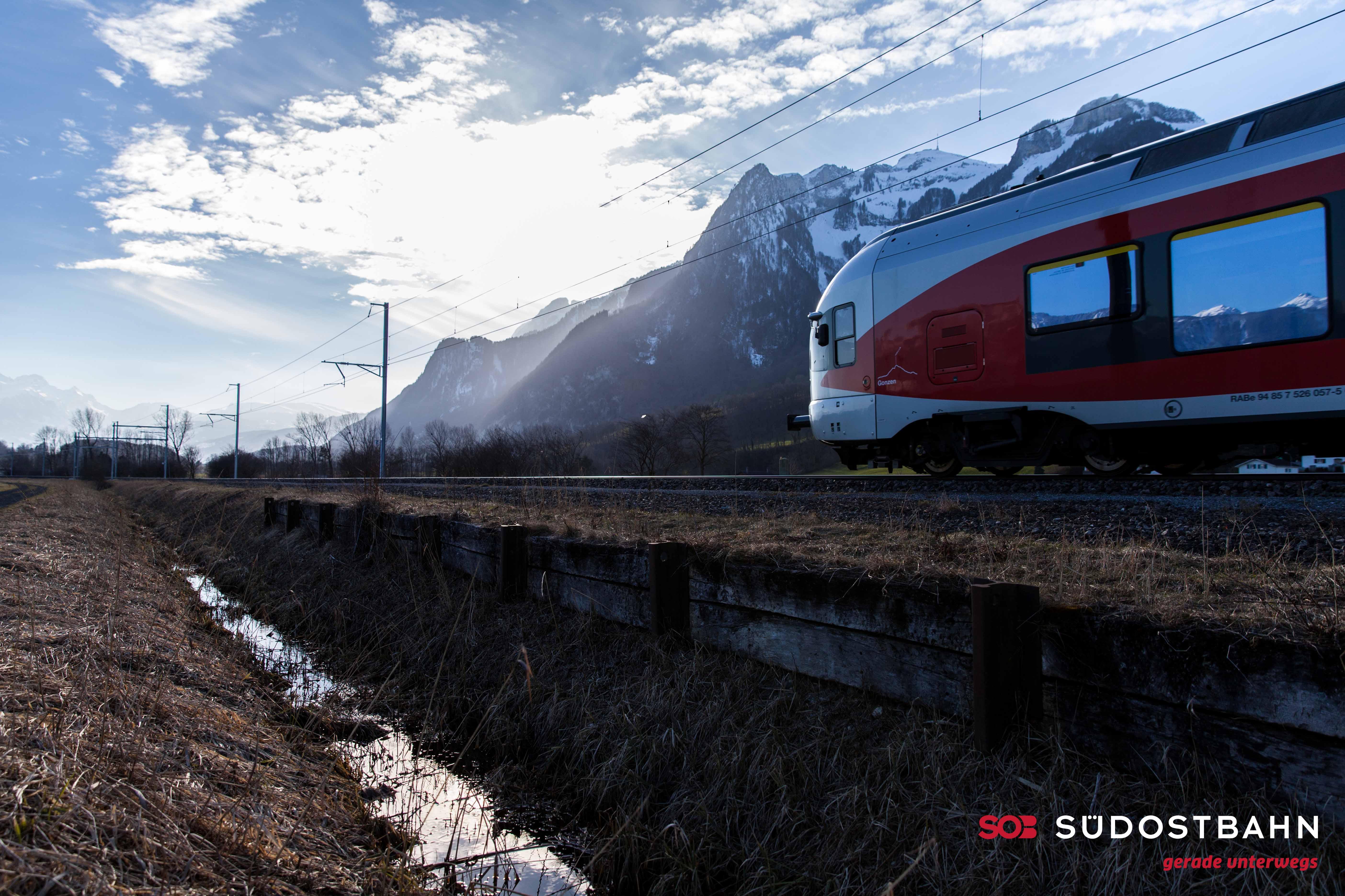 Flirt bei Rüthi, Bahn, SOB, Vehicle, Triebzug, HQ Photo