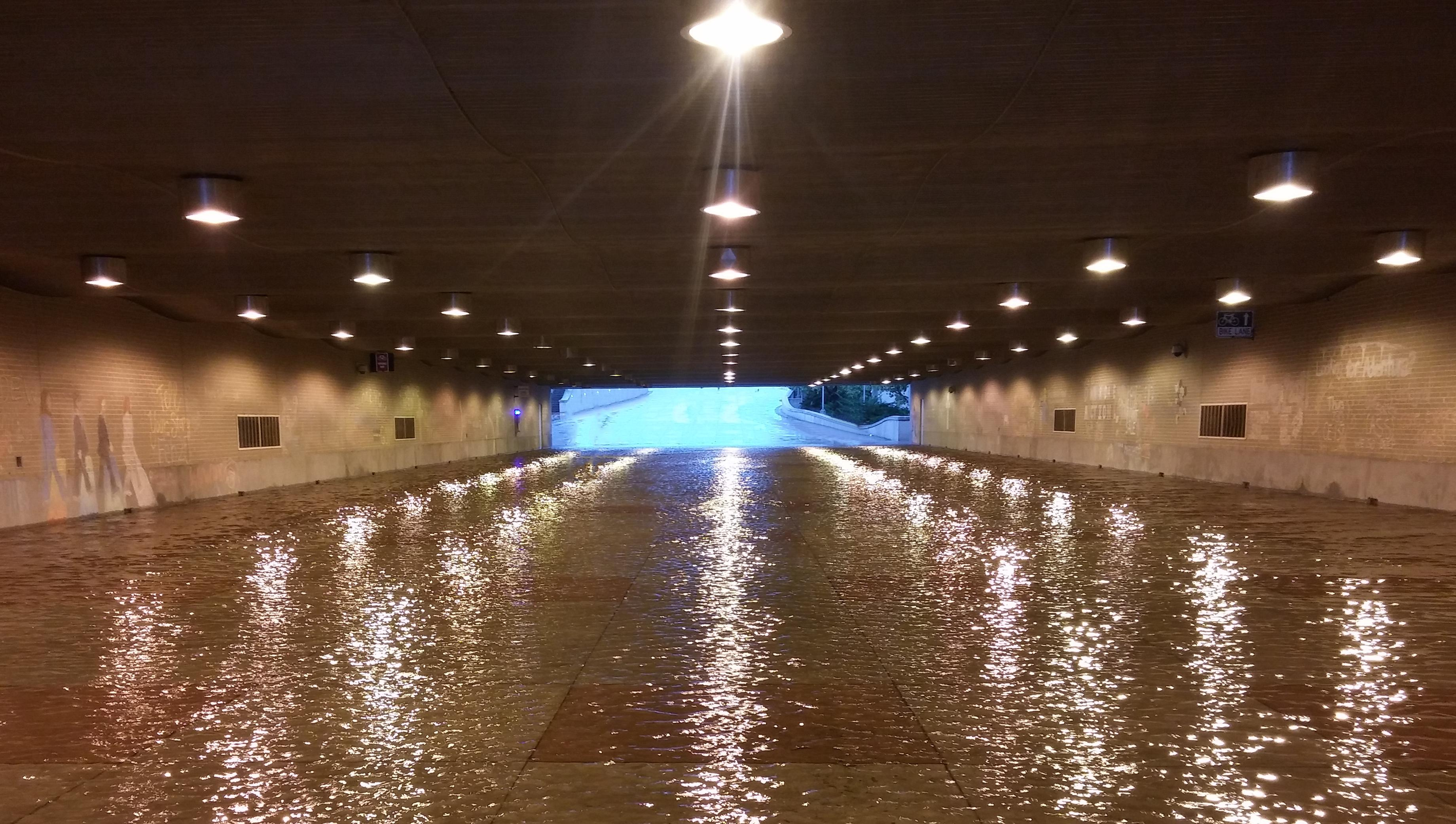 The flooded west campus tunnel : aggies