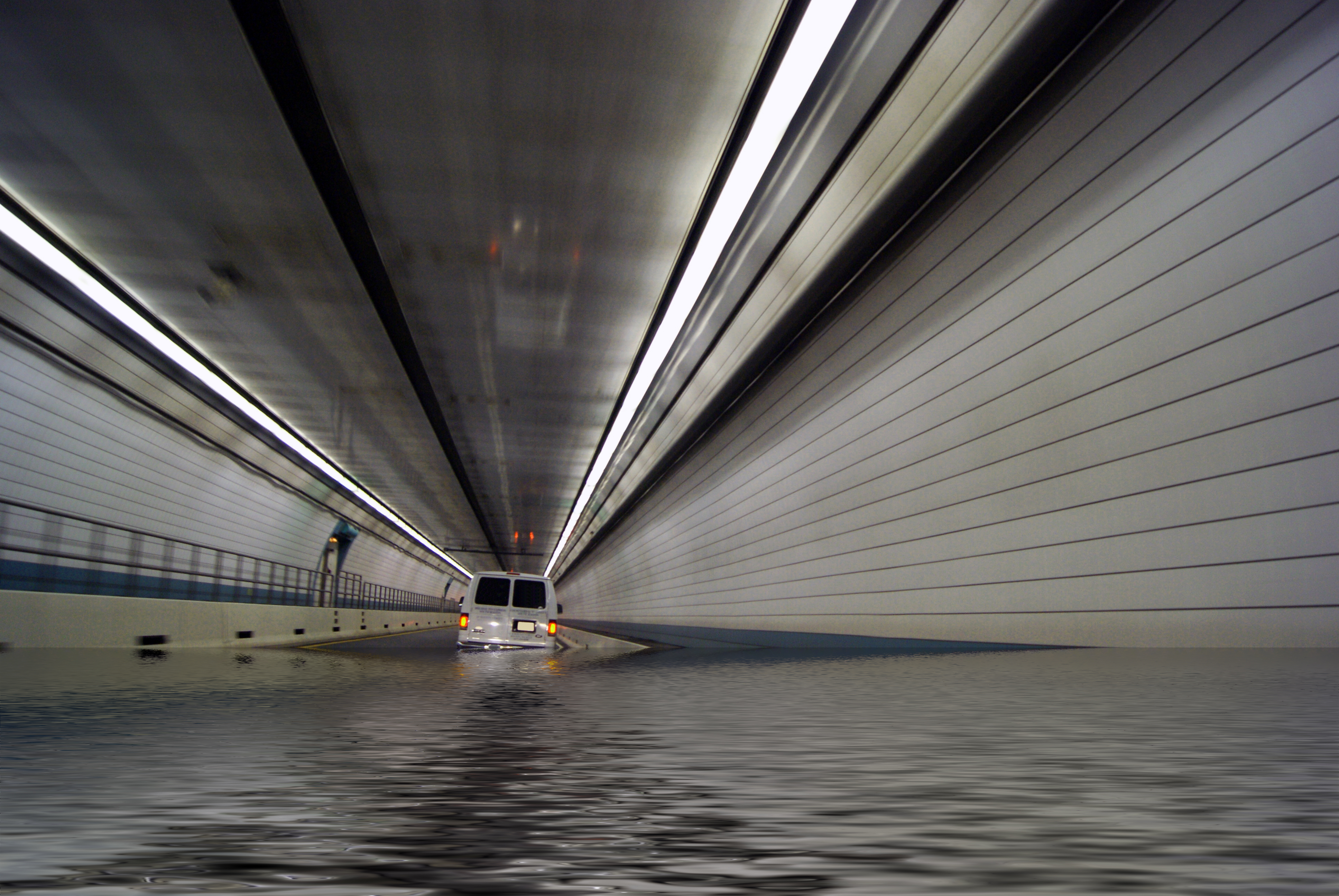 Flooded Tunnel, Above, Spain, Reflection, Rescue, HQ Photo