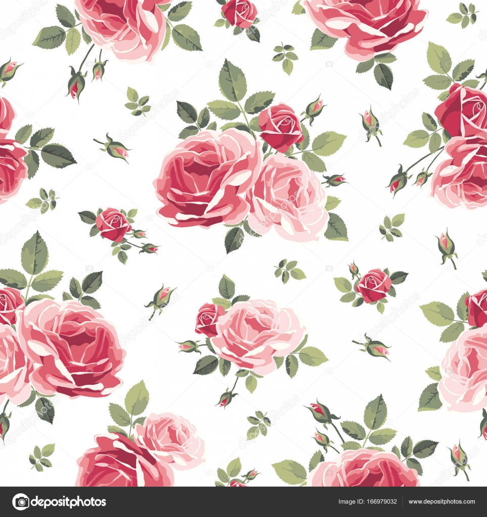 Seamless pattern with roses. Vintage floral background. — Stock ...