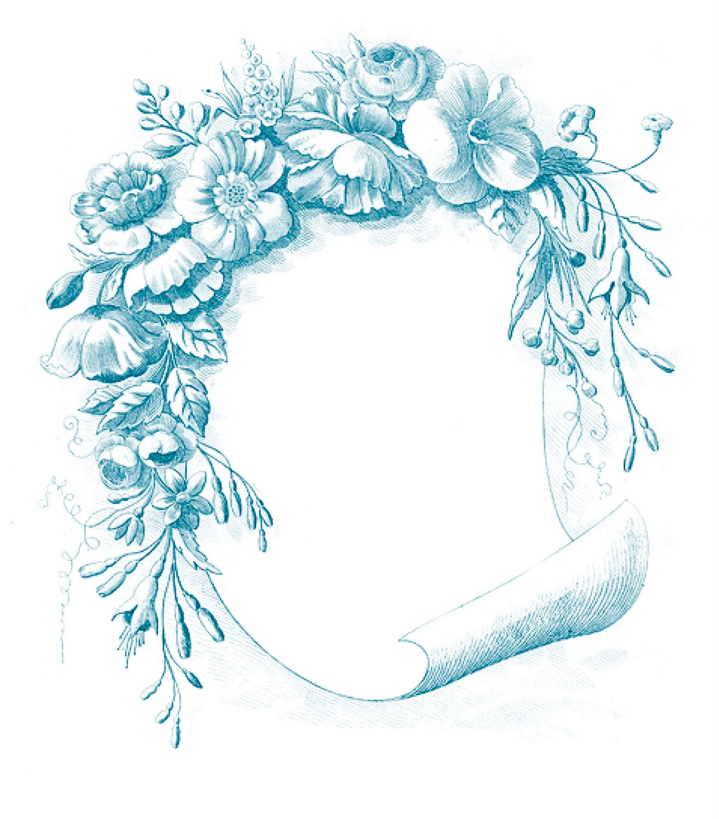 Vintage Clip Art - Gorgeous Floral Frame - The Graphics Fairy