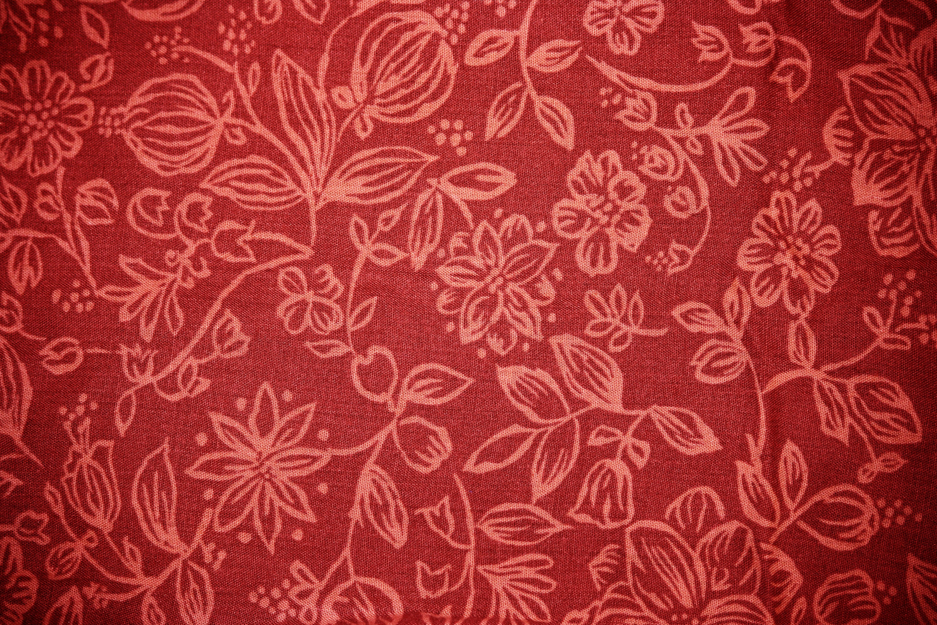 Red Fabric with Floral Pattern Texture Picture | Free Photograph ...