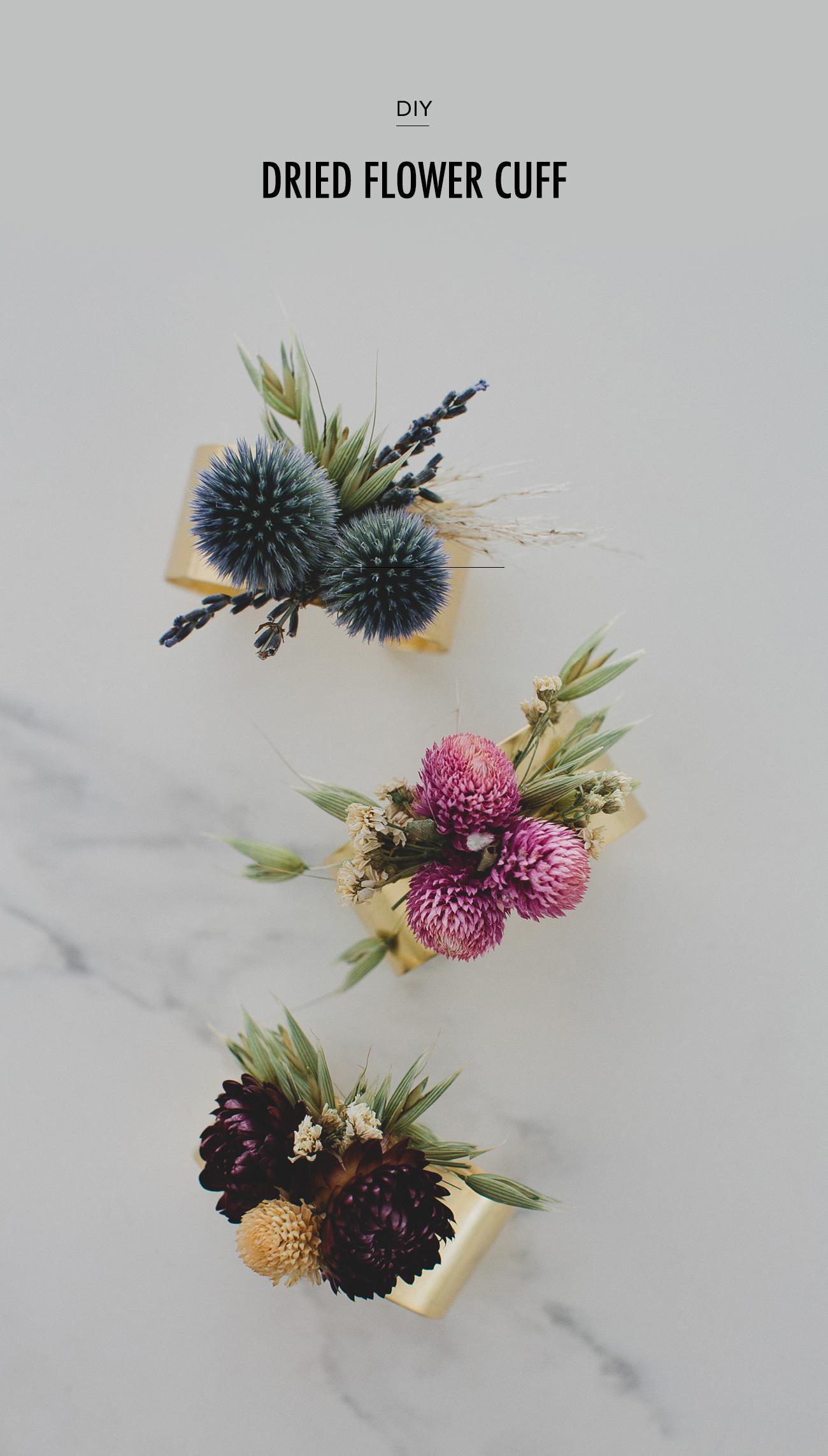 DIY Dried Flower Cuff - Green Wedding Shoes