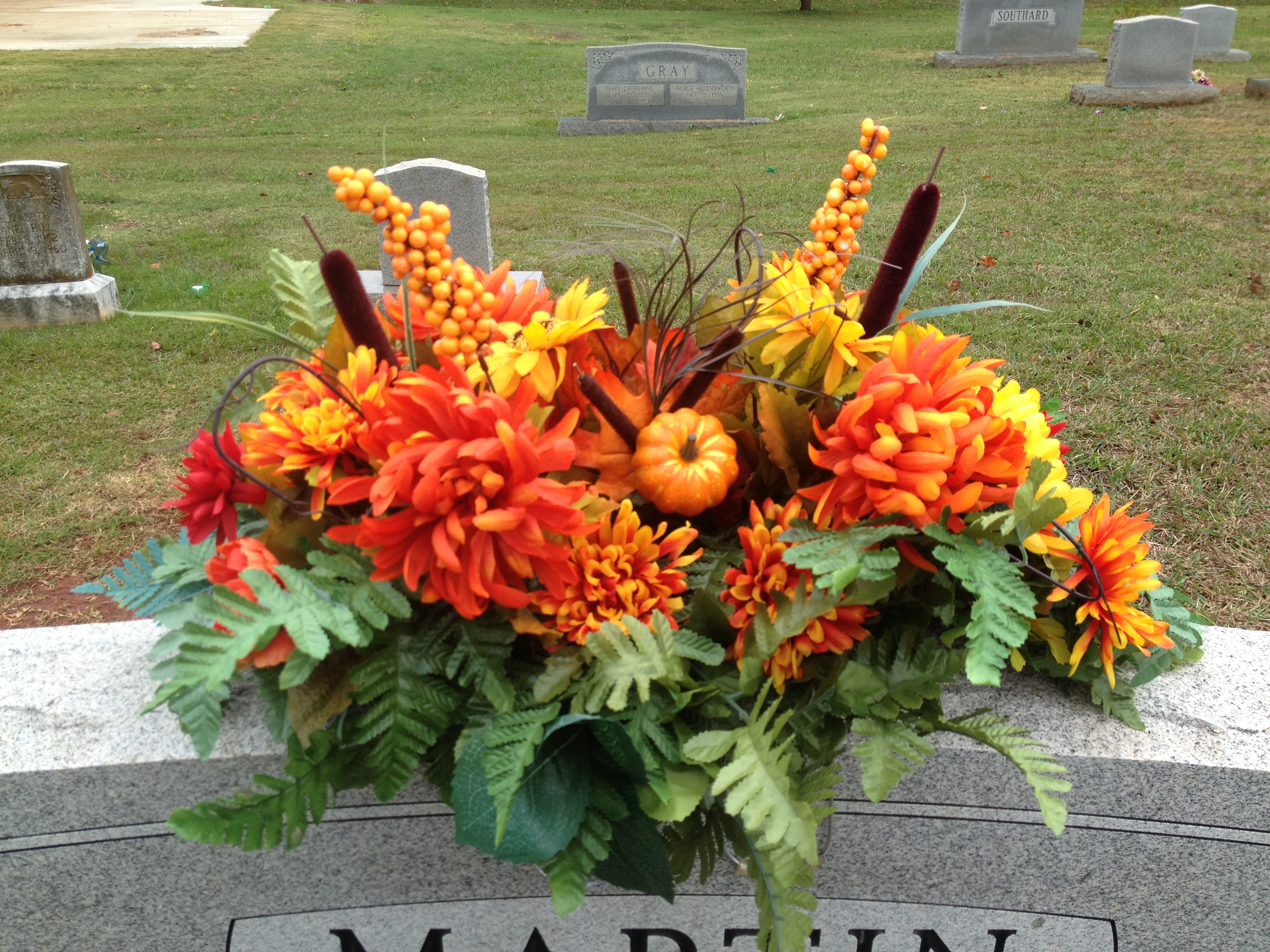 Fall flower arrangement for a family member's grave | My Creations ...