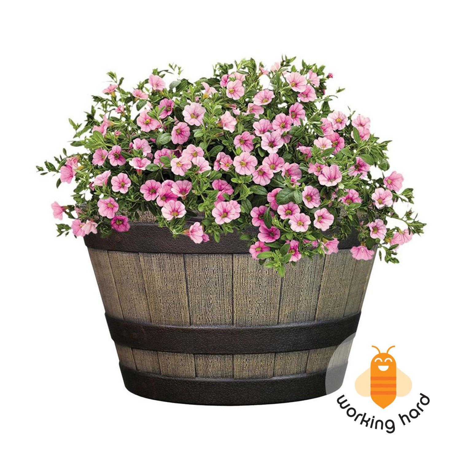 WHISKEY BARREL PLANTER Weather Resistant Outdoor Garden Flower Pot ...