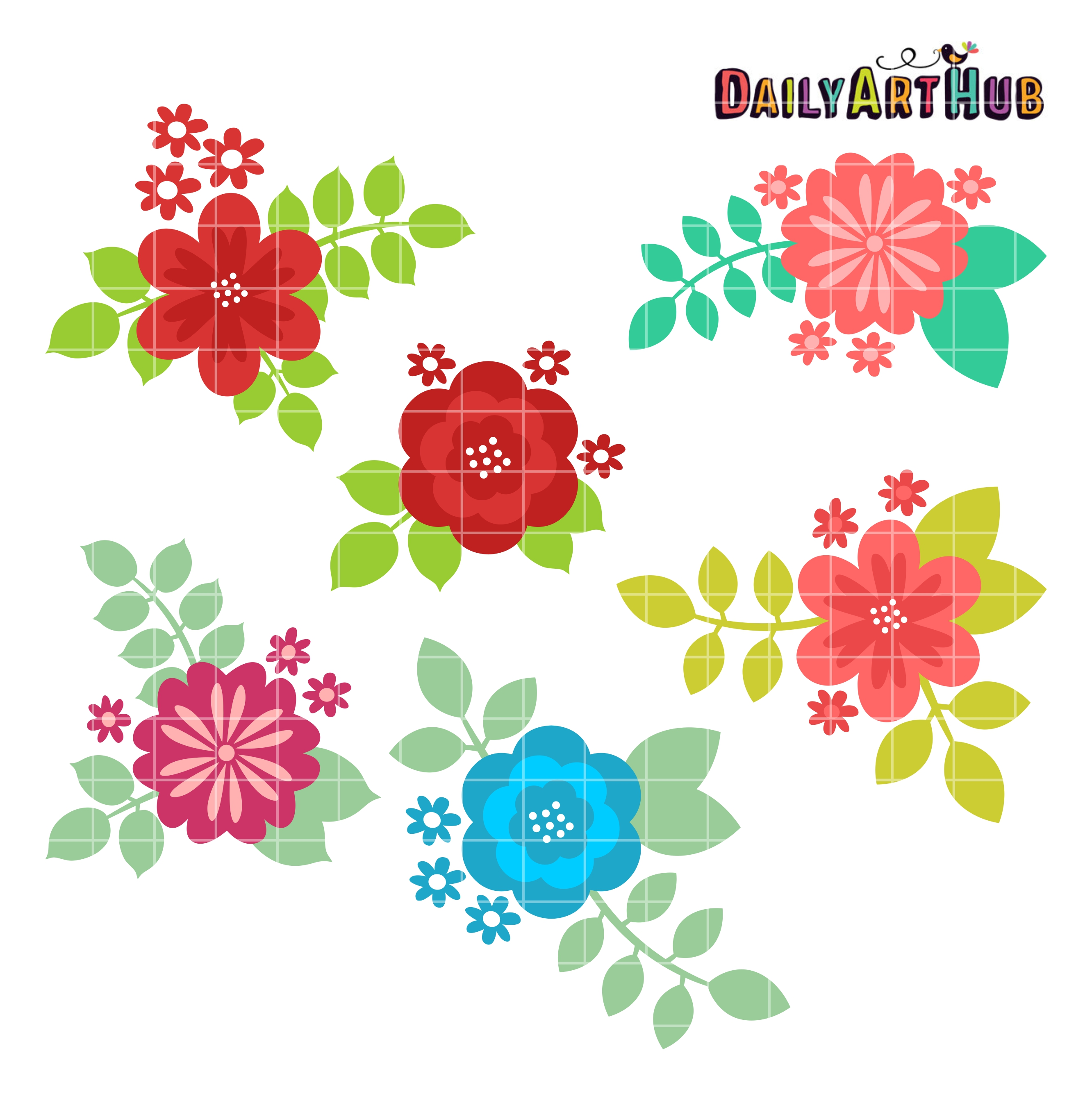 Flowers And Leaves Clip Art Set – Daily Art Hub – Free Clip Art Everyday