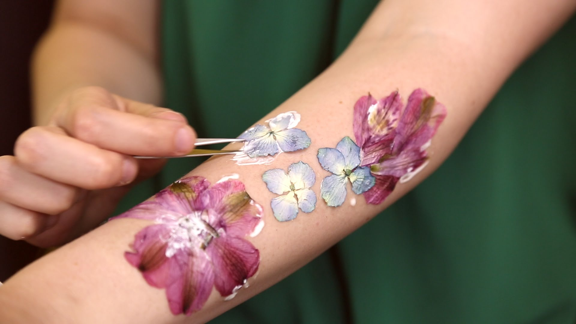 Flowers on skin photo