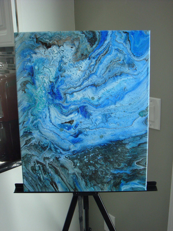 Fluid Abstract Art - Blue Ocean 2- Original Acrylic Painting on ...