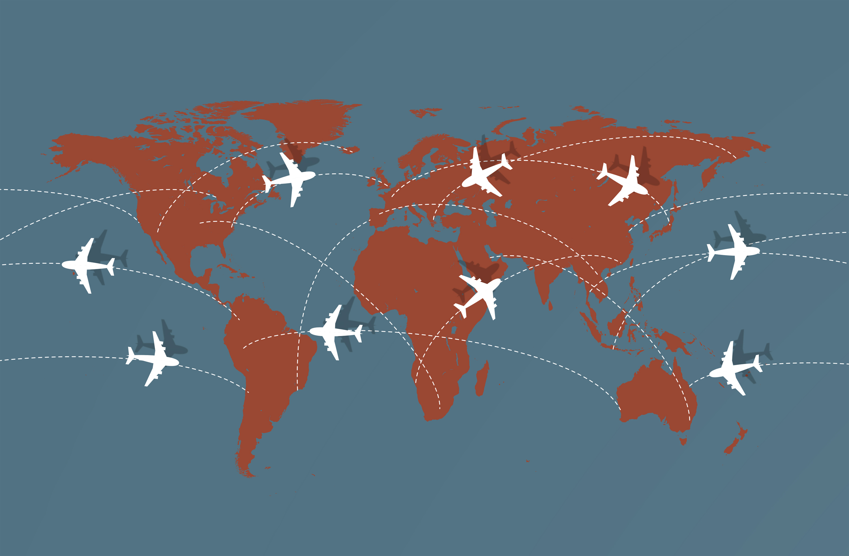 Flying across the globe - air travel illustration photo