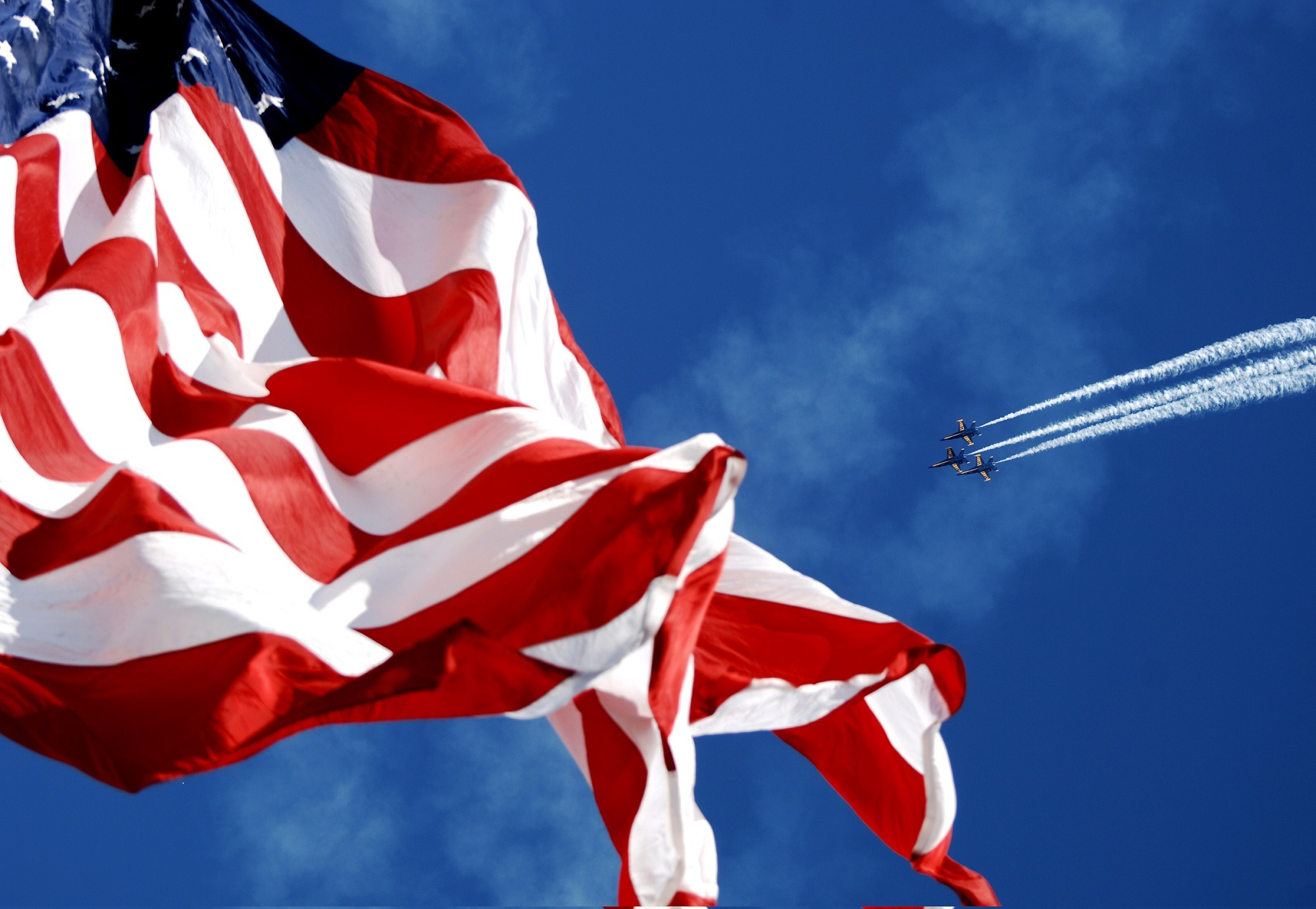 Flying over the american flag photo