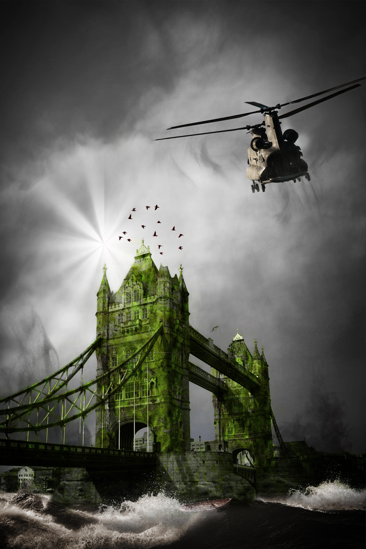 Flying over the london bridge photo