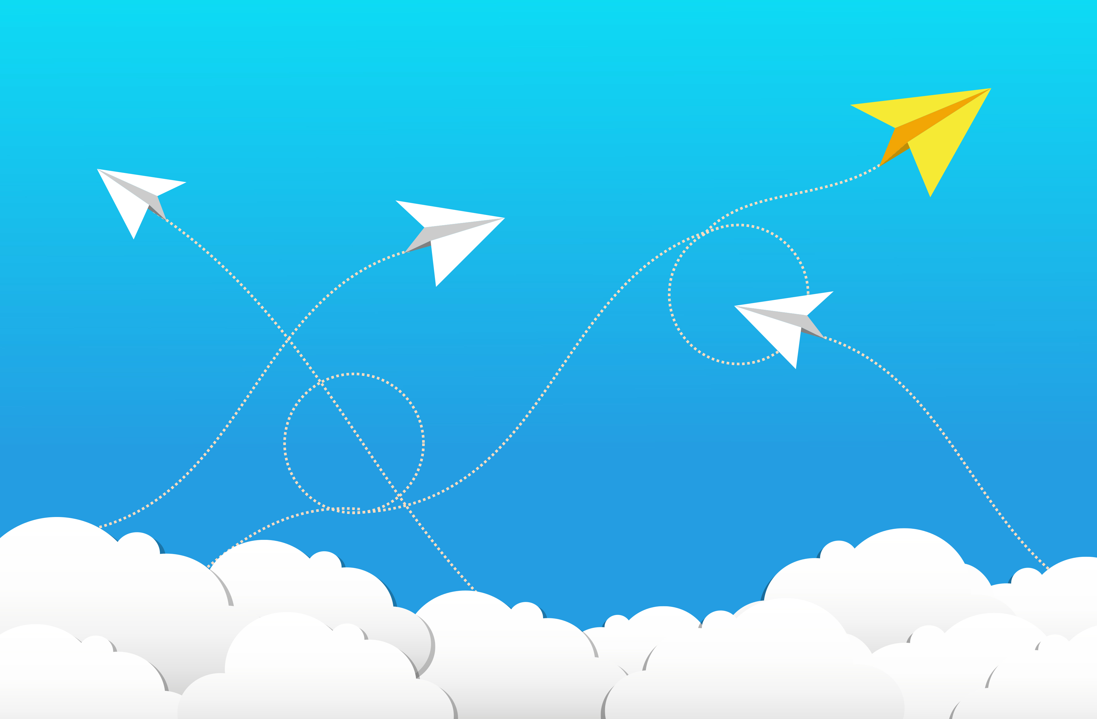 Flying Paper Planes and Clouds - Cloud Computing Concept, Abstract, Path, Rocks, Ribbon, HQ Photo