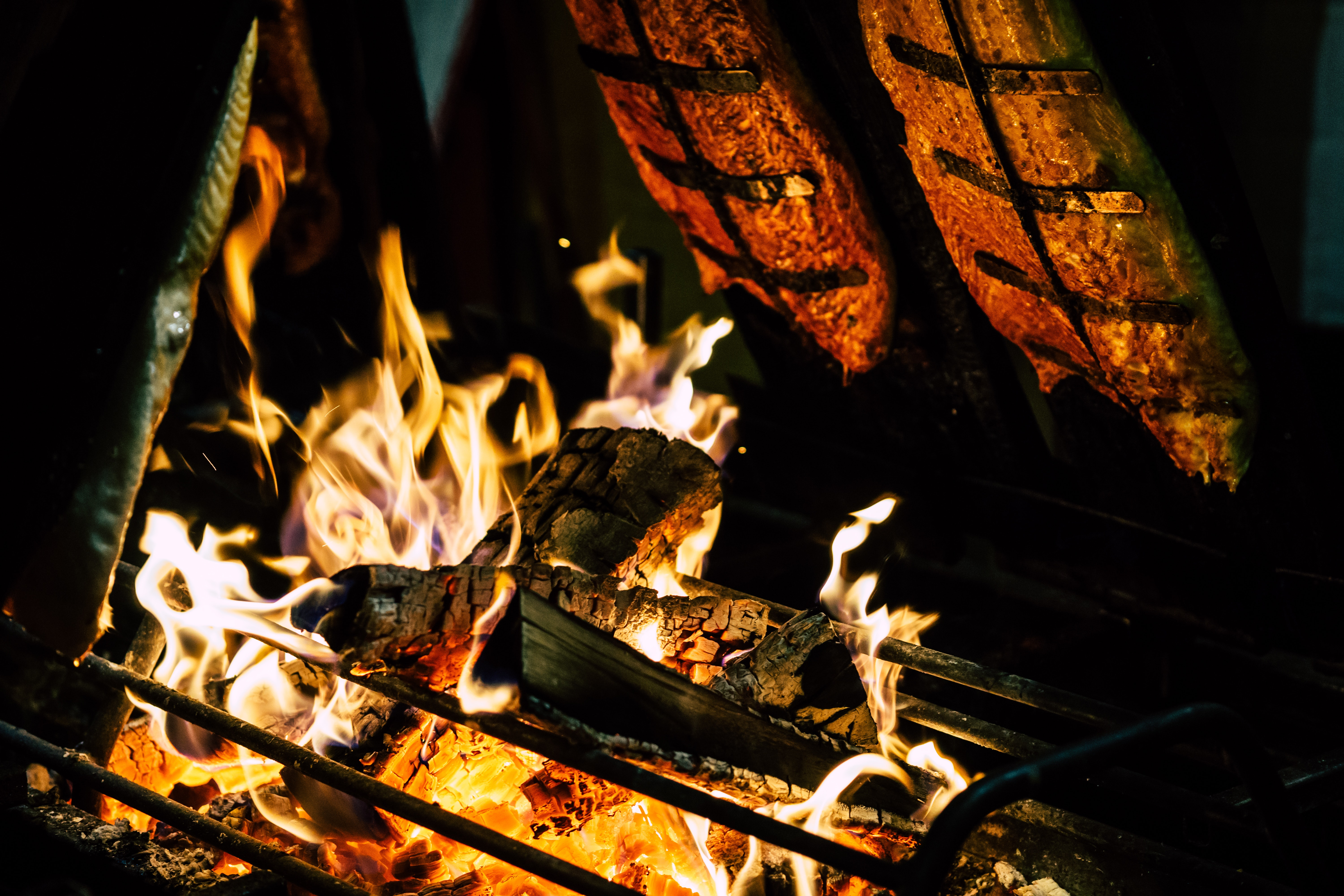 Focal Point Photo of Burning Wood in Black Steel Grate, Fireplace, Fire, Firewood, Heat, HQ Photo