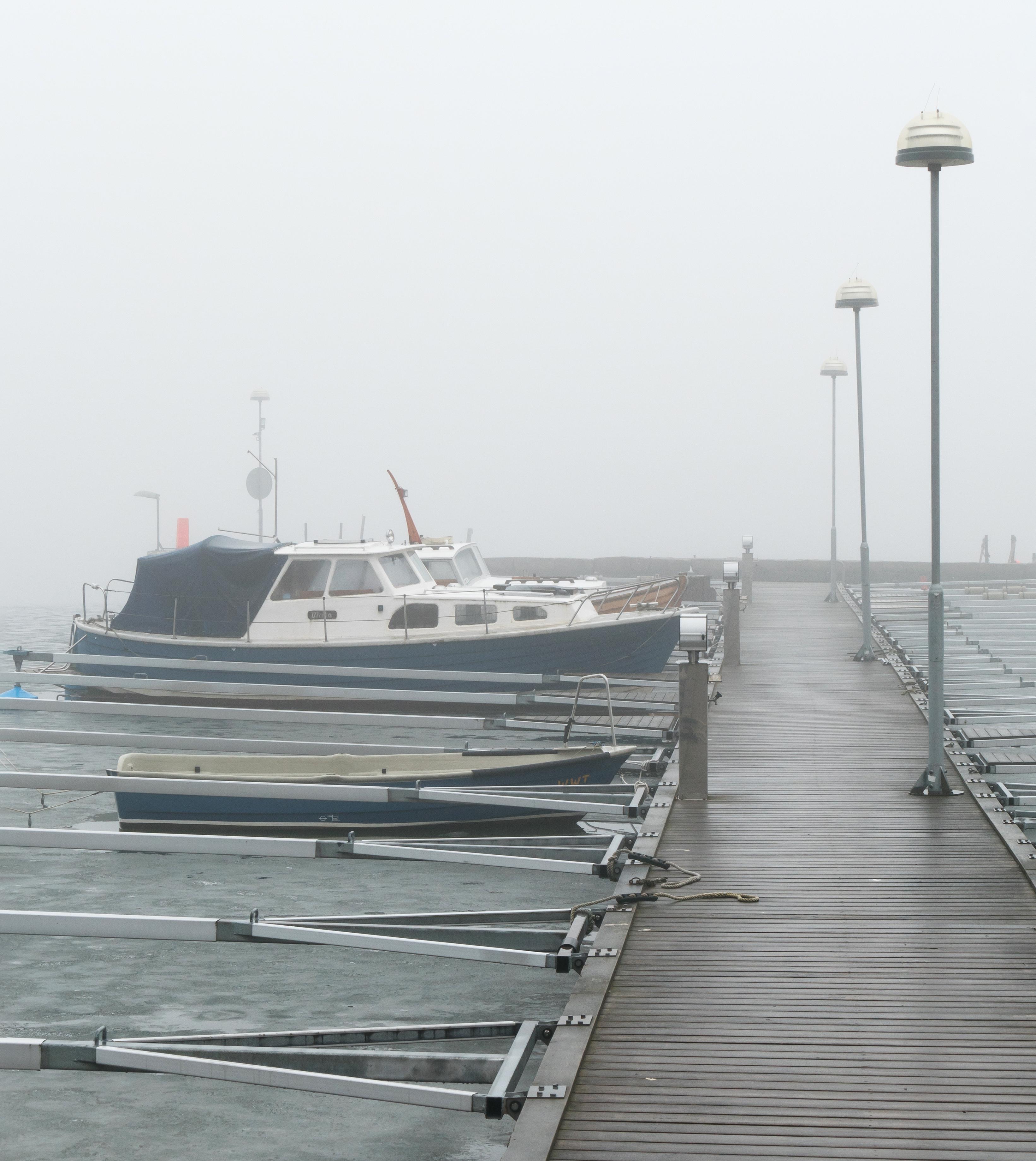 Fog and ice at Rixö boat club 5, Boat, Boat_club, Dock_fingers, Fog, HQ Photo