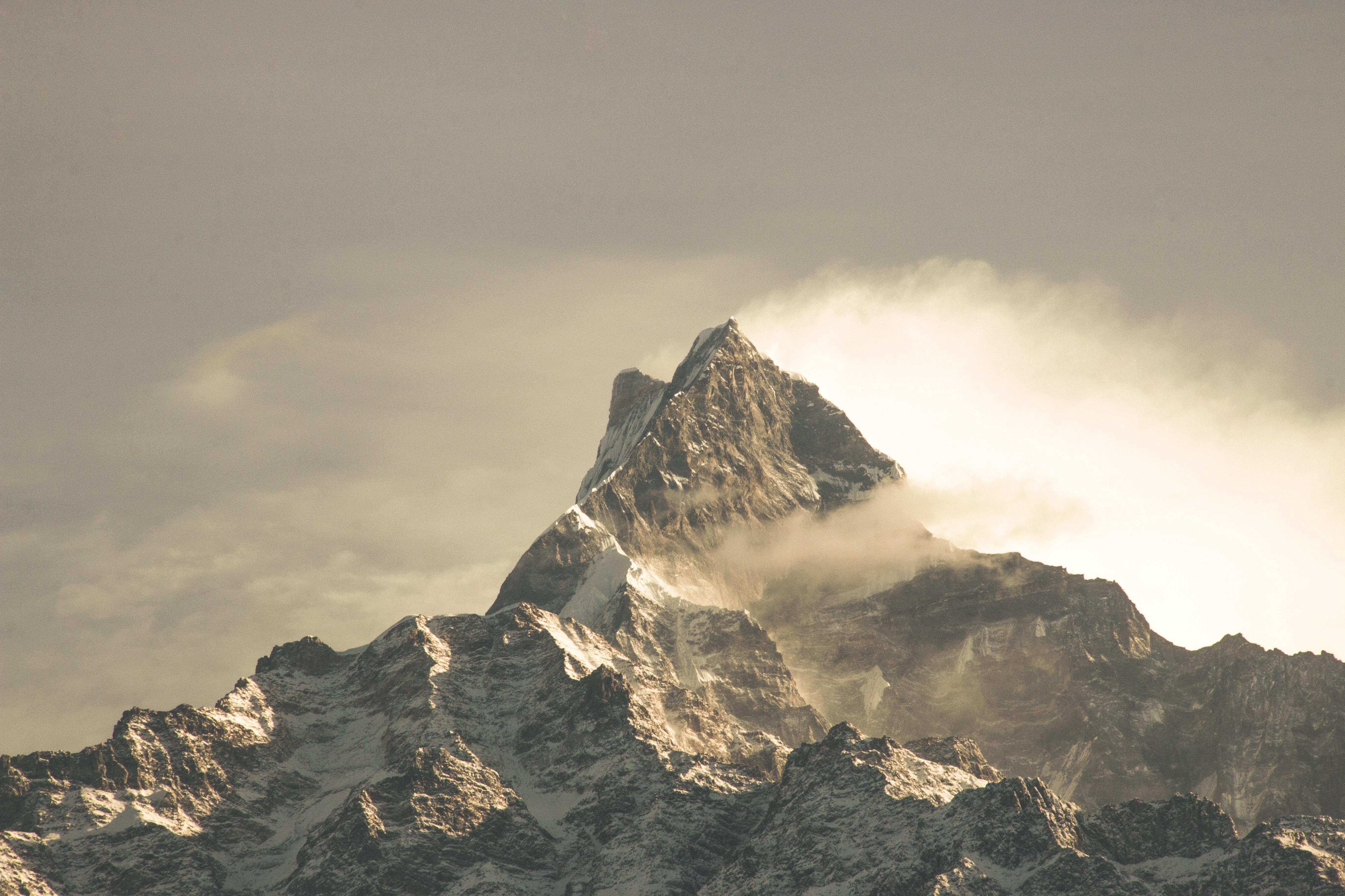 Free Photo Fog Covered Mountain Wallpaper Mountain Peak