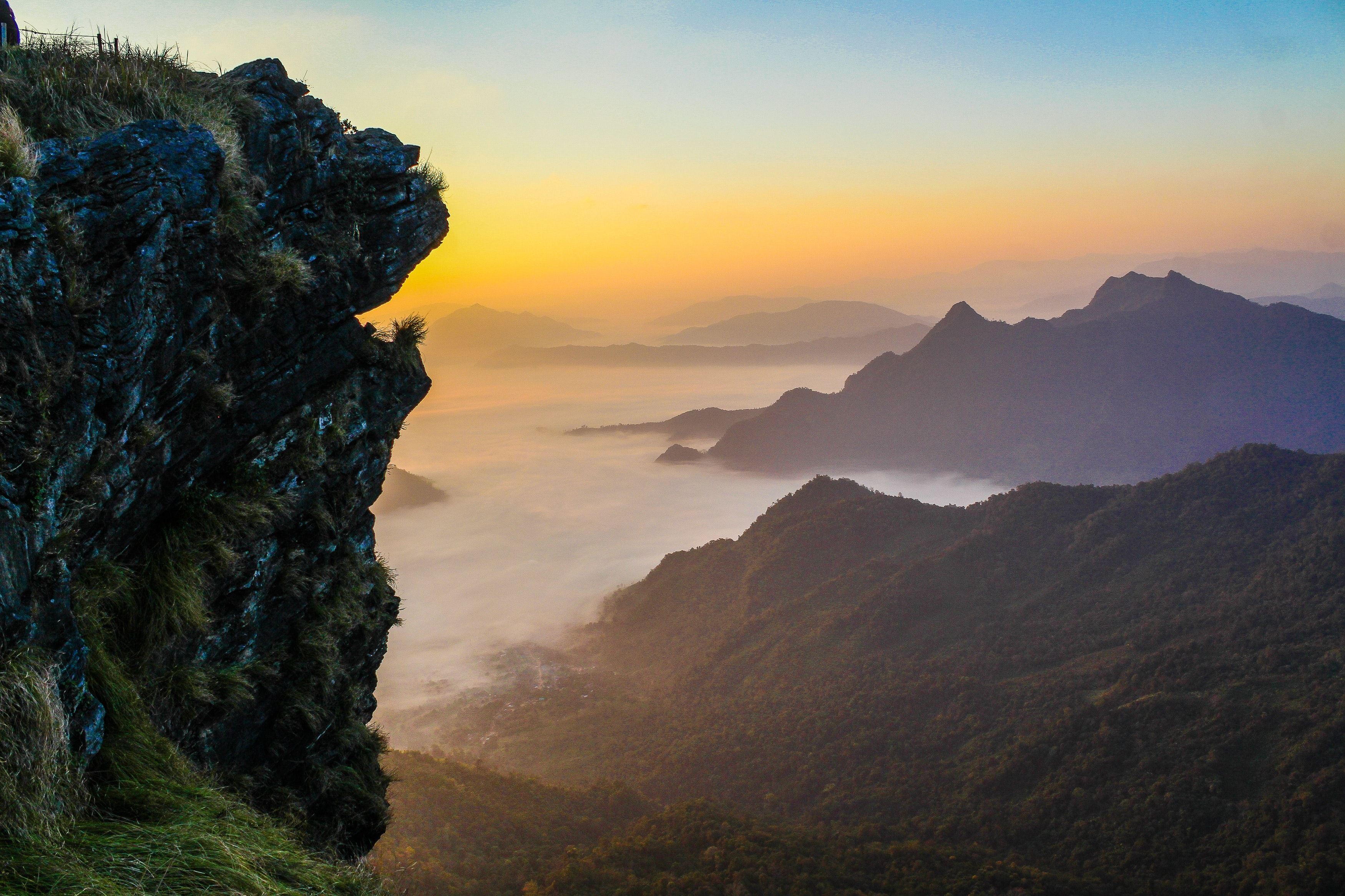 Foggy Mountains at Sunset, Adventure, Scenic, Natural, Nature, HQ Photo
