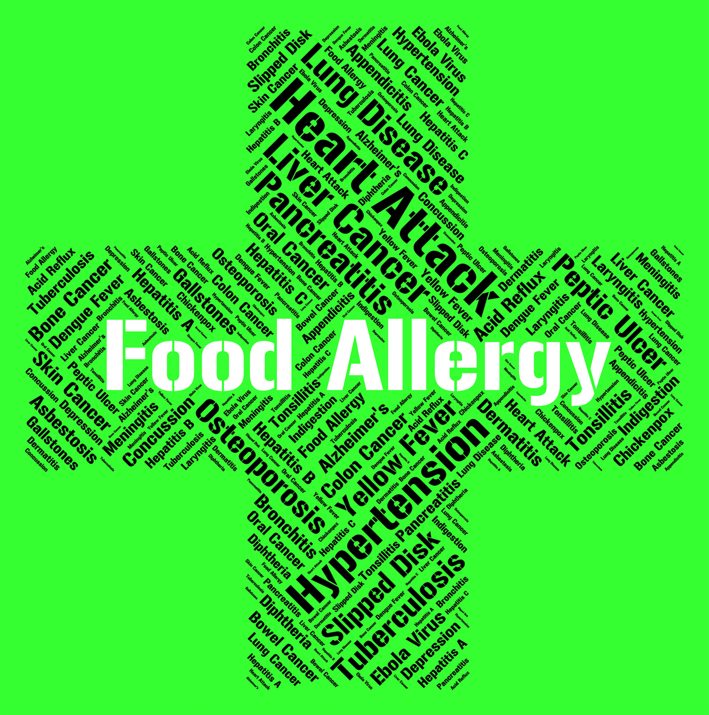 Food allergy represents hay fever and ailment photo