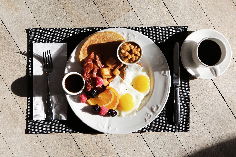 Food gourmet on top of brown table photo