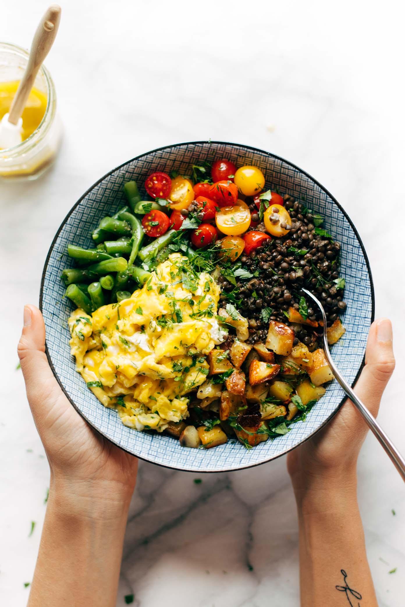 Sunshine Lentil Bowls with Garlic Olive Oil Dressing Recipe - Pinch ...
